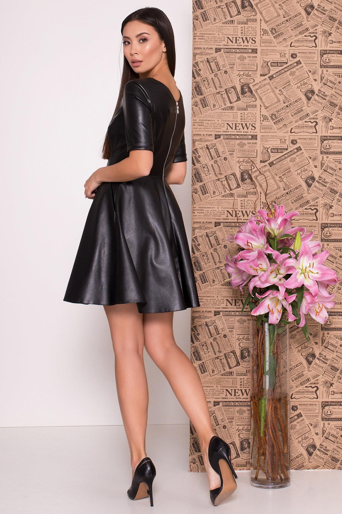 Платье из экокожи Фернанда 7783 АРТ. 43671 Цвет: Черный - фото 3, интернет магазин tm-modus.ru