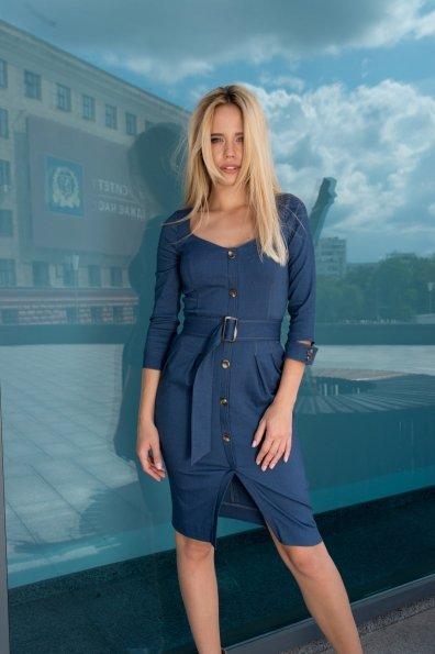 Платье-футляр Марсель 7656 Цвет: т. синий