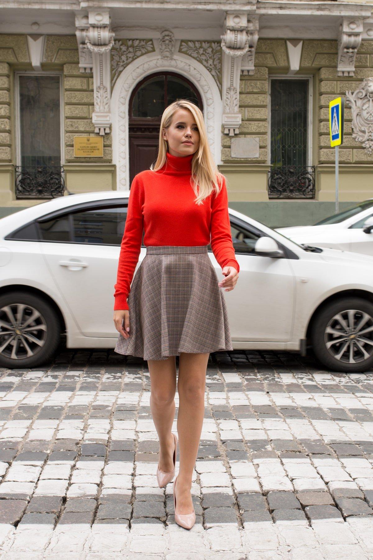 Юбка-солнце Джулиани 6757 АРТ. 41821 Цвет: Бежевый/синий/красный - фото 2, интернет магазин tm-modus.ru
