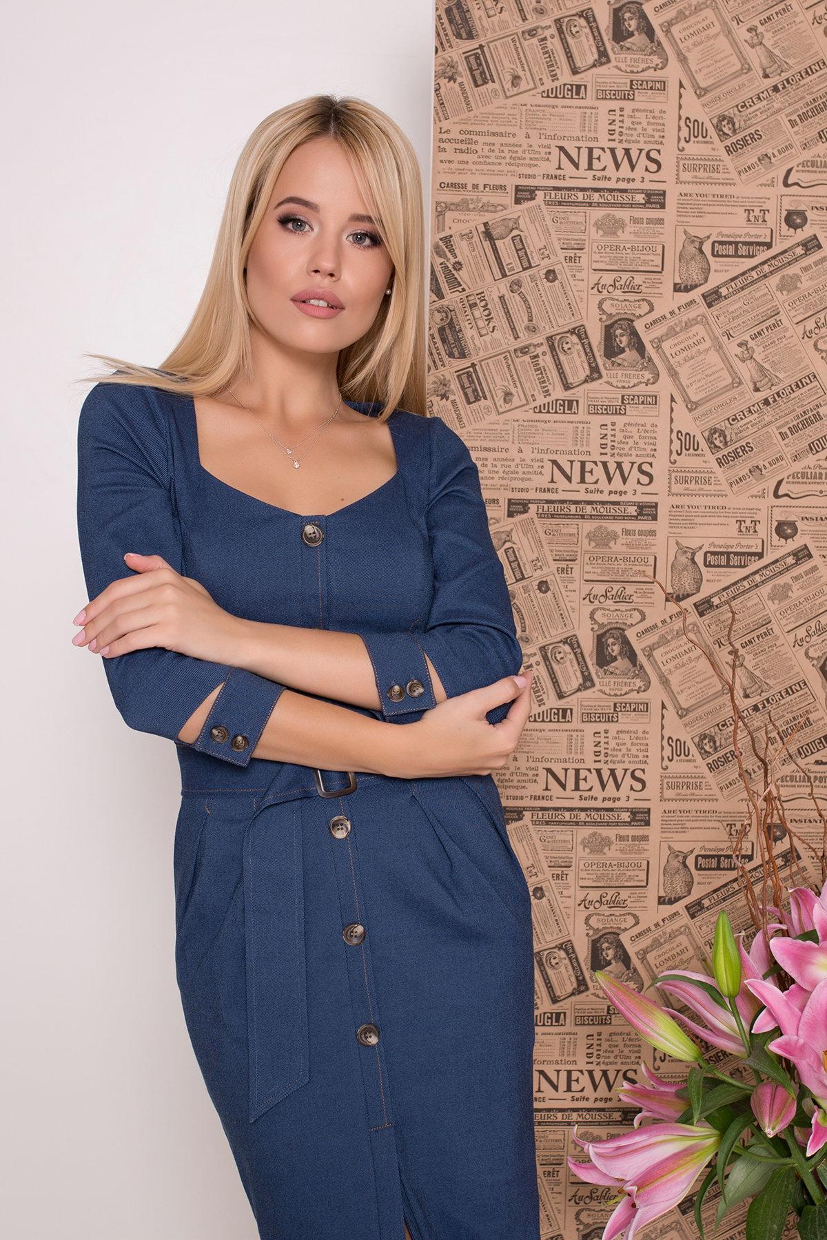 Платье футляр Марсель 7656 Цвет: Джинс