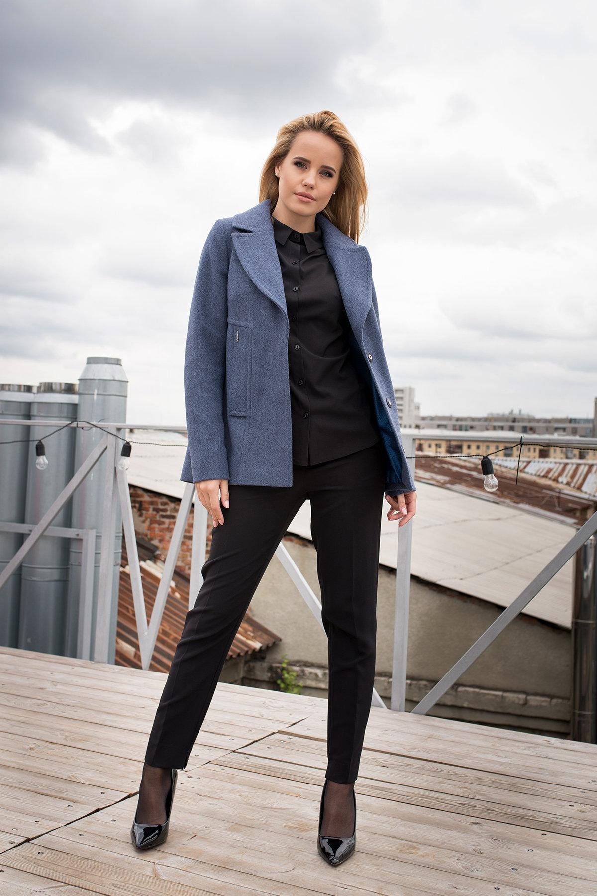Демисезонное пальто прямого кроя Белладжио  7817 АРТ. 43701 Цвет: Джинс 41 - фото 2, интернет магазин tm-modus.ru