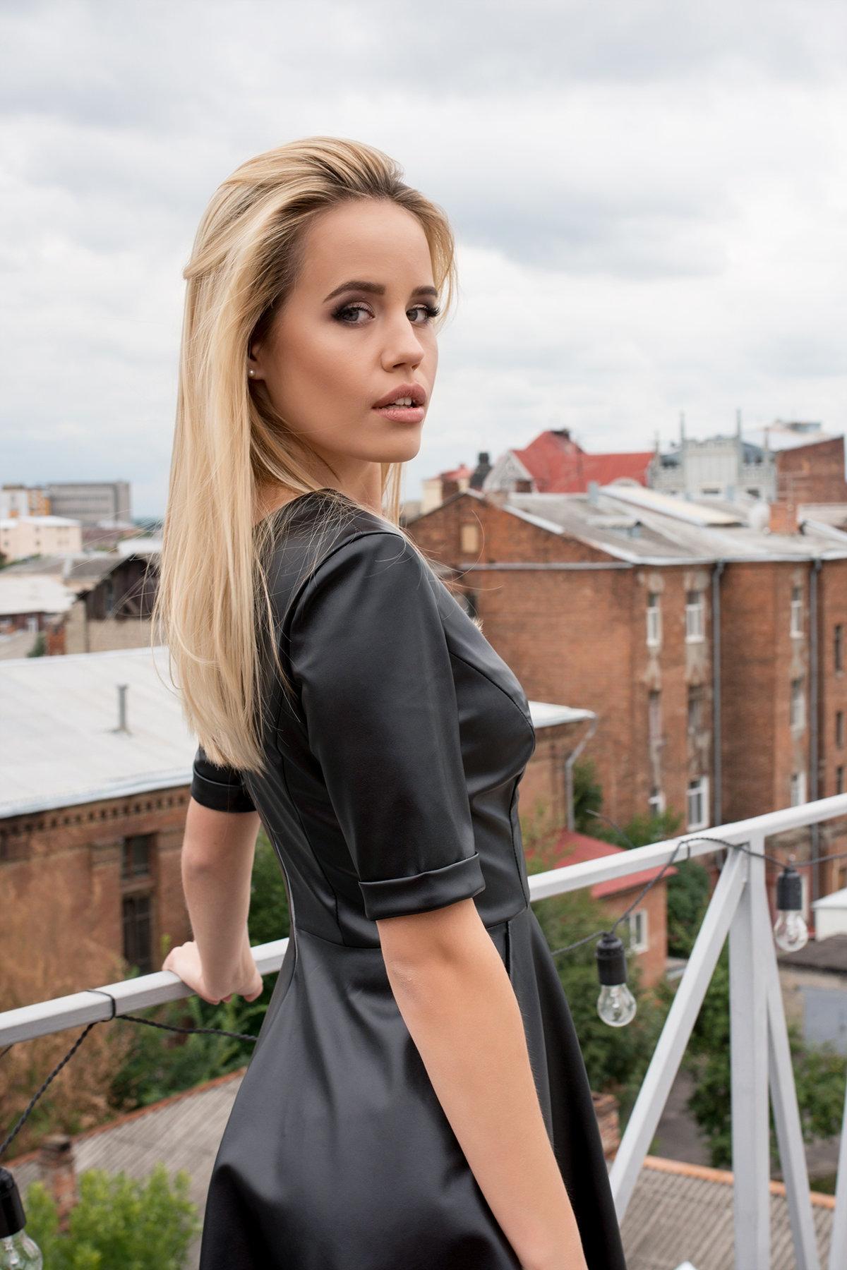 Платье из экокожи Фернанда 7783 АРТ. 43671 Цвет: Черный - фото 4, интернет магазин tm-modus.ru