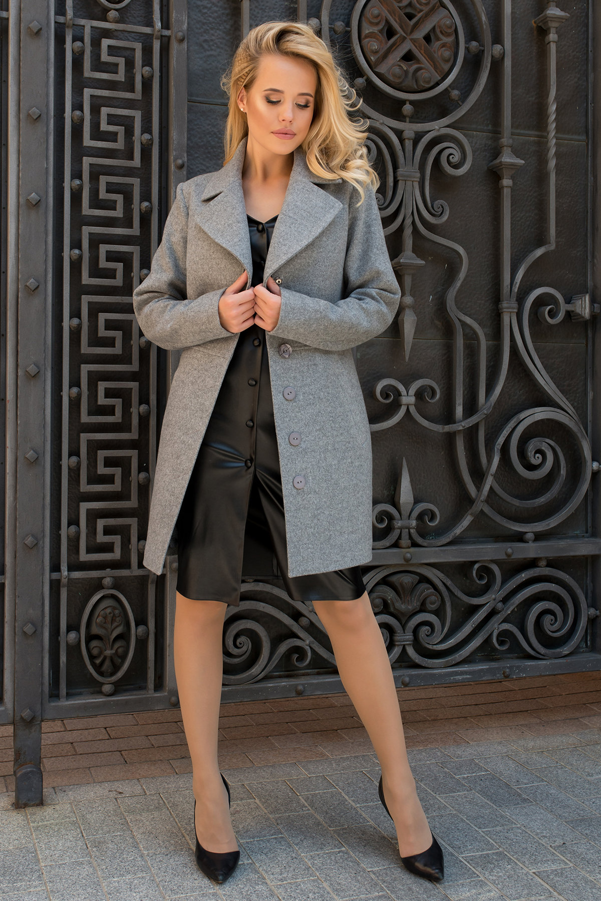 Пальто Габриэлла 7823 АРТ. 43703 Цвет: Серый 1 - фото 1, интернет магазин tm-modus.ru