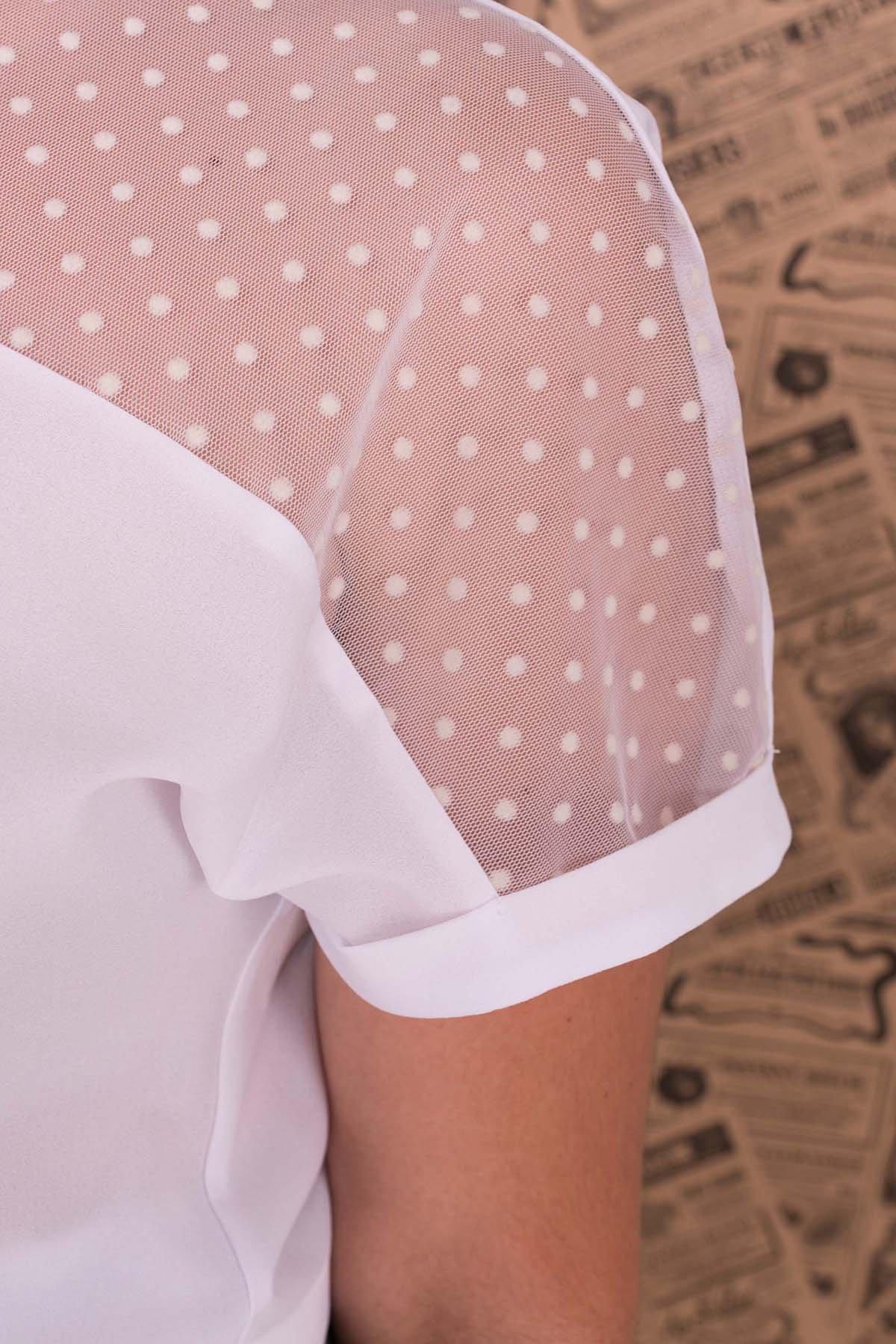 Блуза Свит DONNA 7777 АРТ. 43659 Цвет: Белый - фото 5, интернет магазин tm-modus.ru