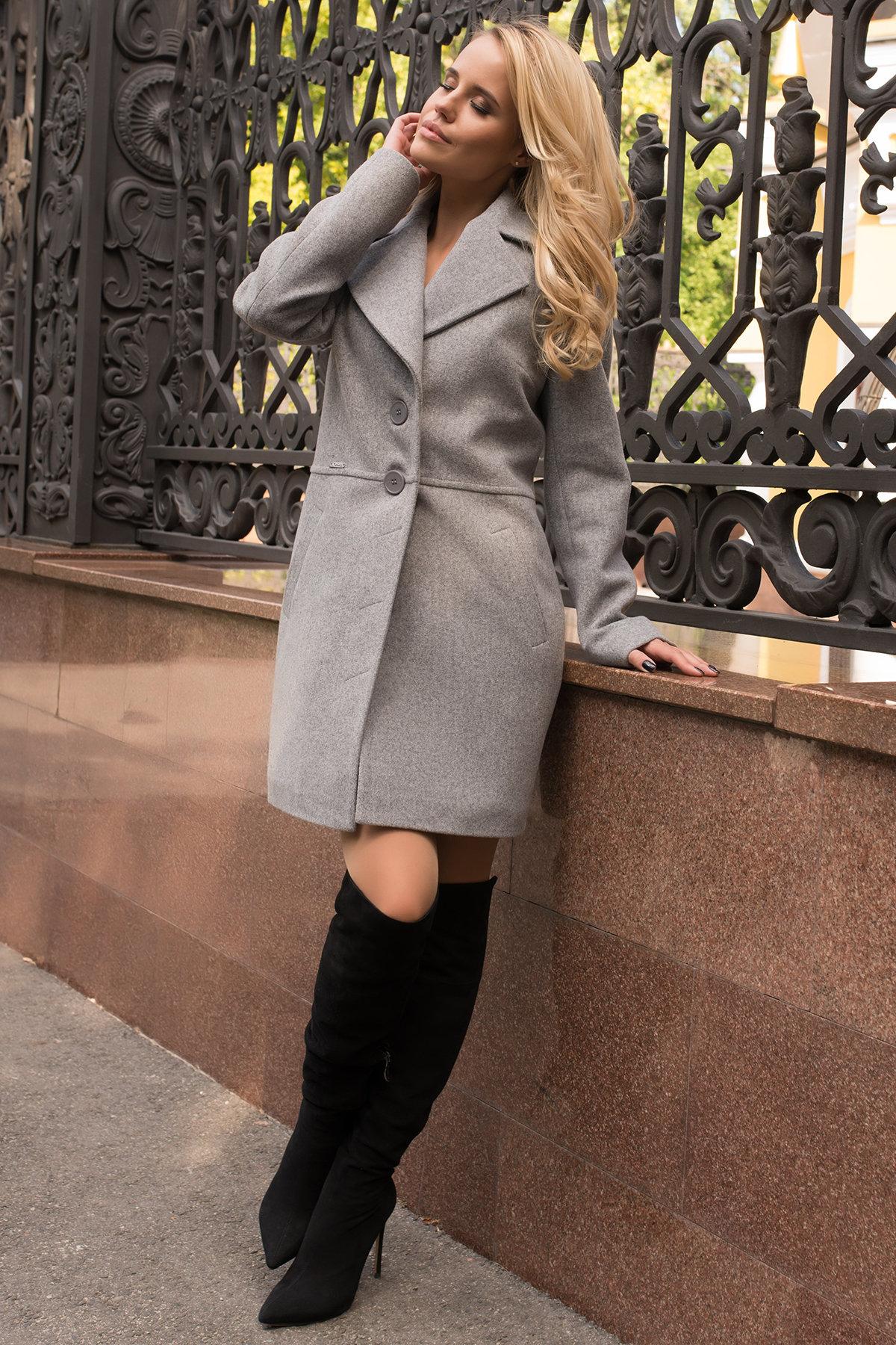 Элегантное демисезонное пальто выше колена Габриэлла 7825 АРТ. 43713 Цвет: Серый 49 - фото 2, интернет магазин tm-modus.ru