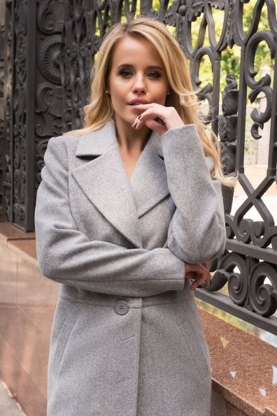 Элегантное демисезонное пальто выше колена Габриэлла 7825 Цвет: Серый 49