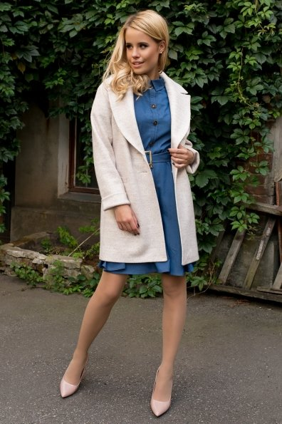 Демисезонное пальто на двух пуговицах Вива 7868 Цвет: Бежевый 21