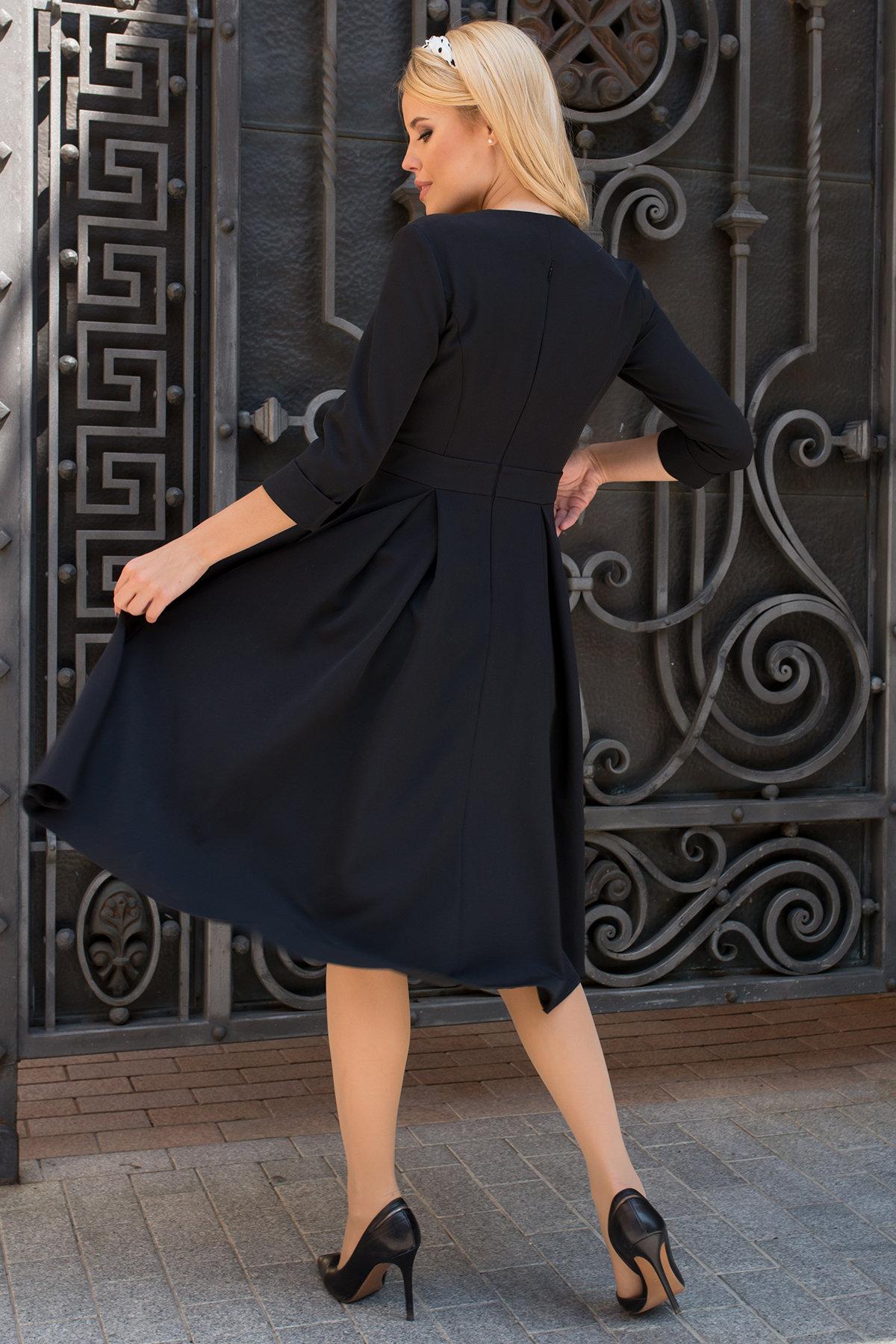 Платье с юбкой-солнце Аризона 7849 АРТ. 43752 Цвет: Черный - фото 2, интернет магазин tm-modus.ru