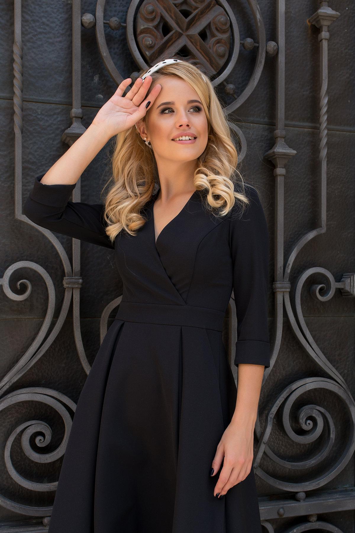 Платье с юбкой-солнце Аризона 7849 АРТ. 43752 Цвет: Черный - фото 3, интернет магазин tm-modus.ru