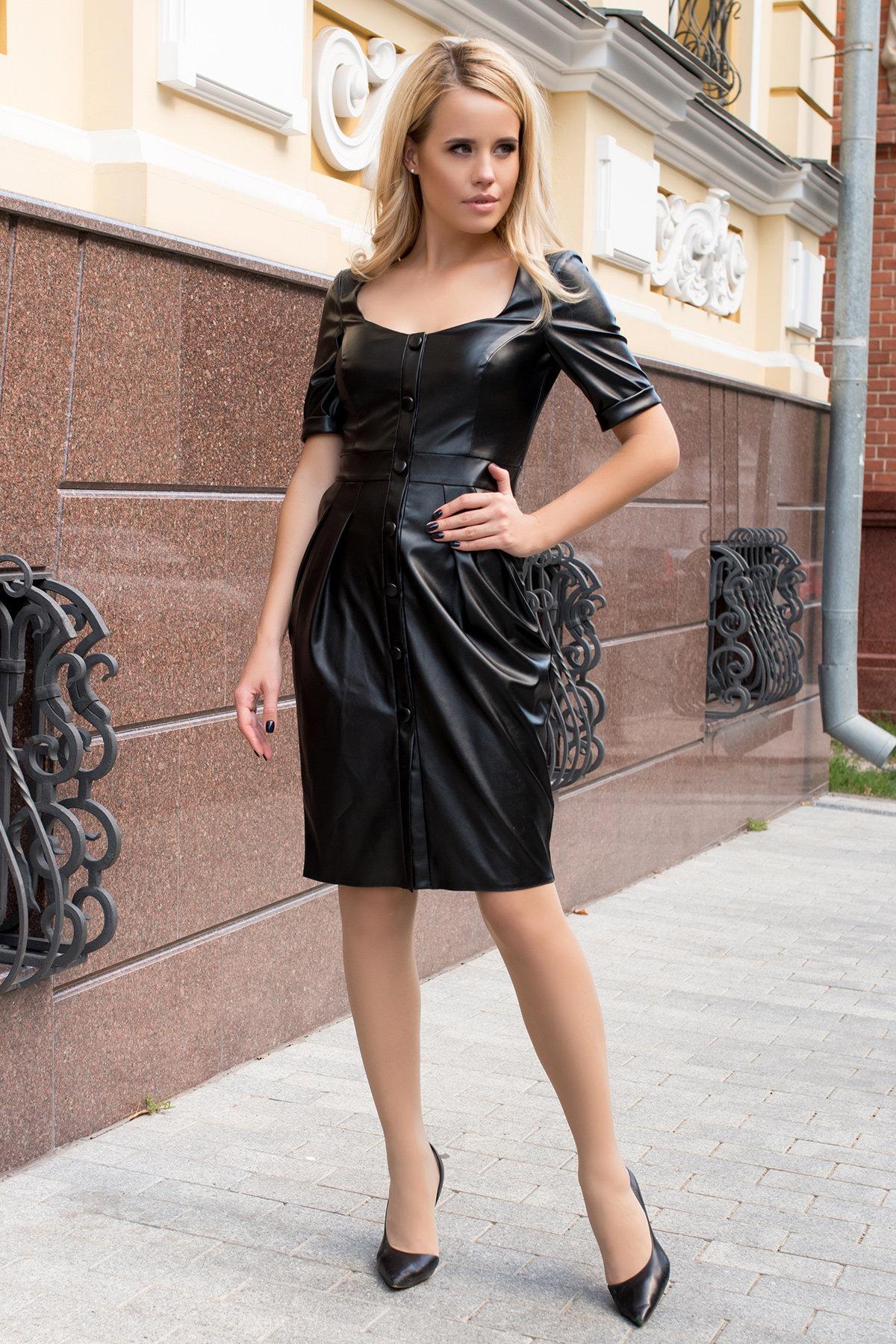 Купить платья в интернет магазине Платье-футляр из экокожи Юта 7851