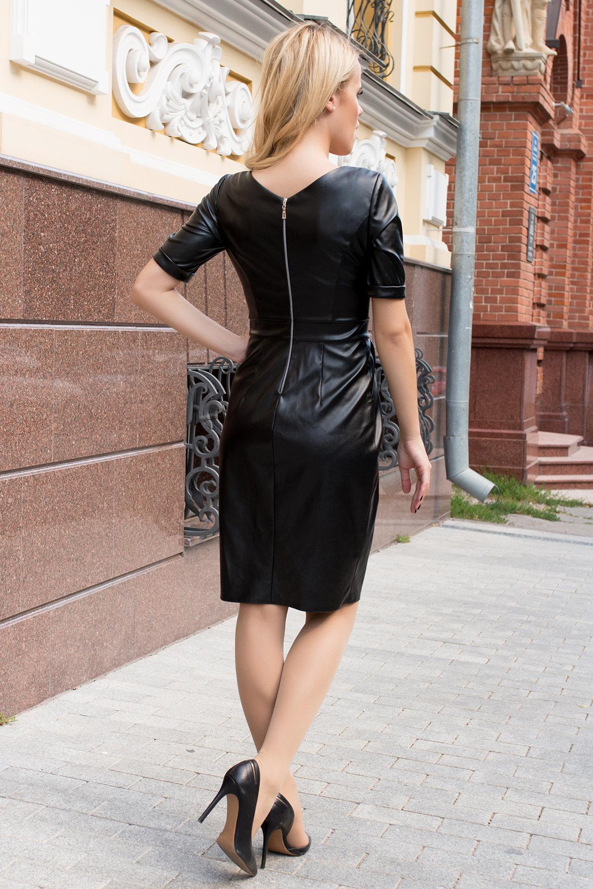 Платье-футляр из экокожи Юта 7851 АРТ. 43753 Цвет: Черный - фото 2, интернет магазин tm-modus.ru