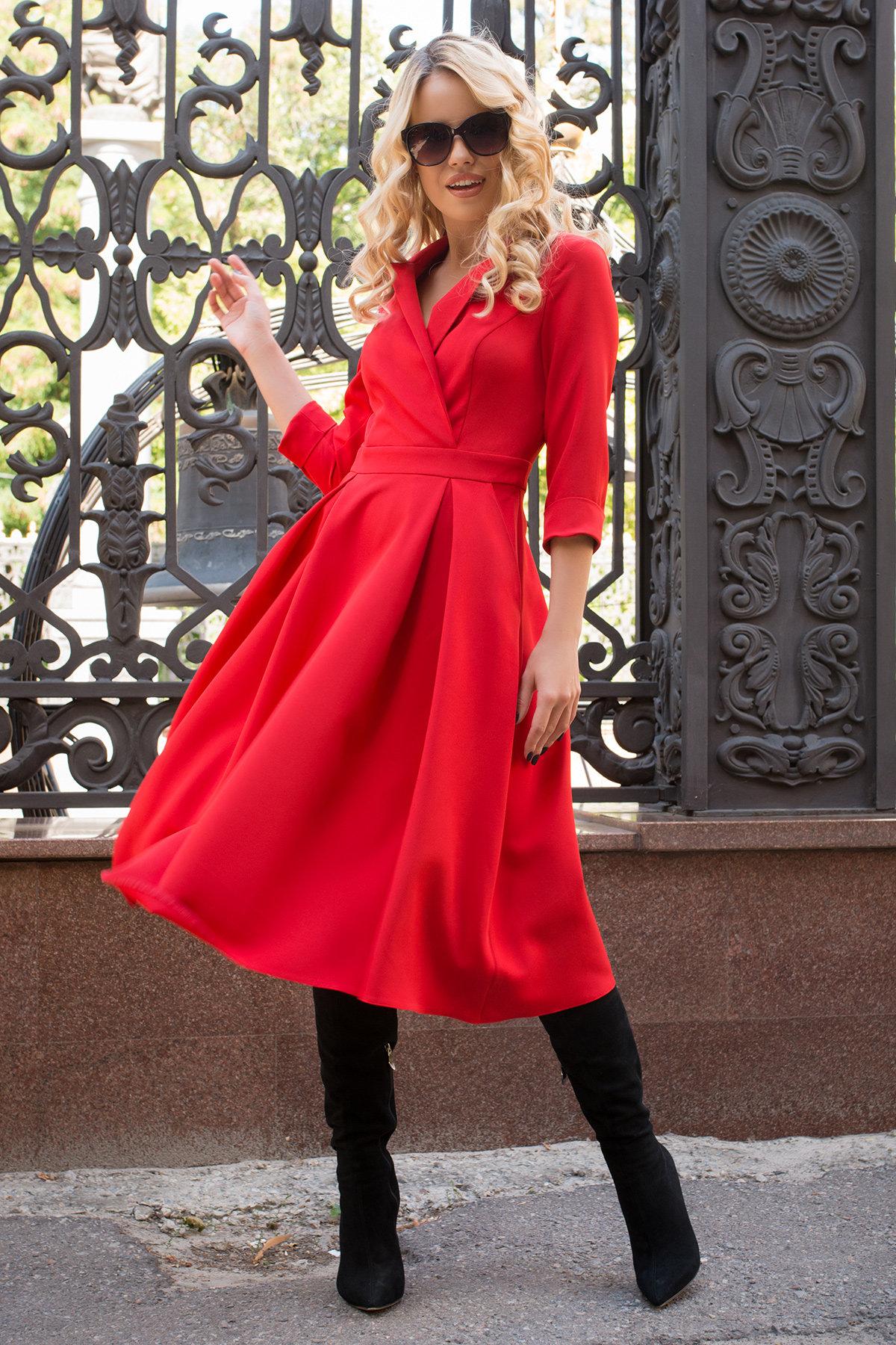Платье в офис Артего 7832 АРТ. 43767 Цвет: Красный 4 - фото 3, интернет магазин tm-modus.ru