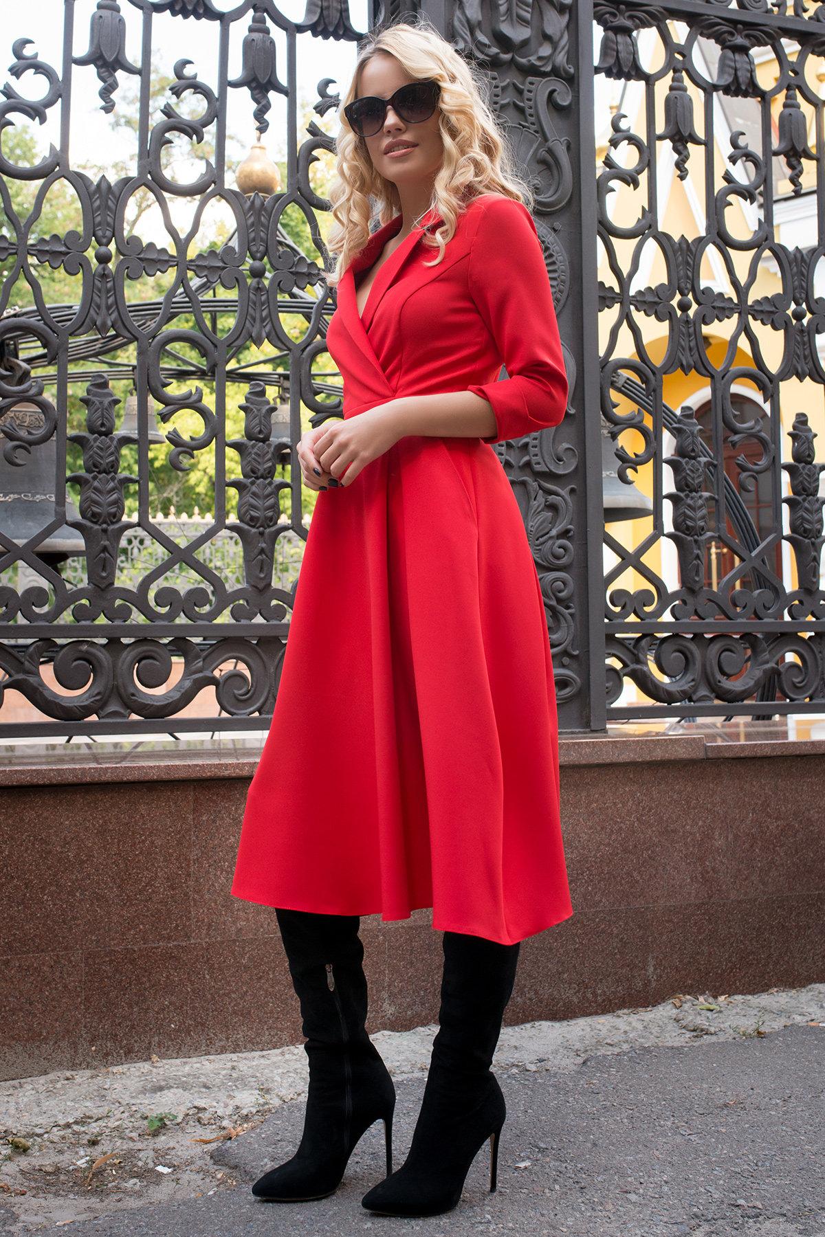 Платье в офис Артего 7832 АРТ. 43767 Цвет: Красный 4 - фото 5, интернет магазин tm-modus.ru