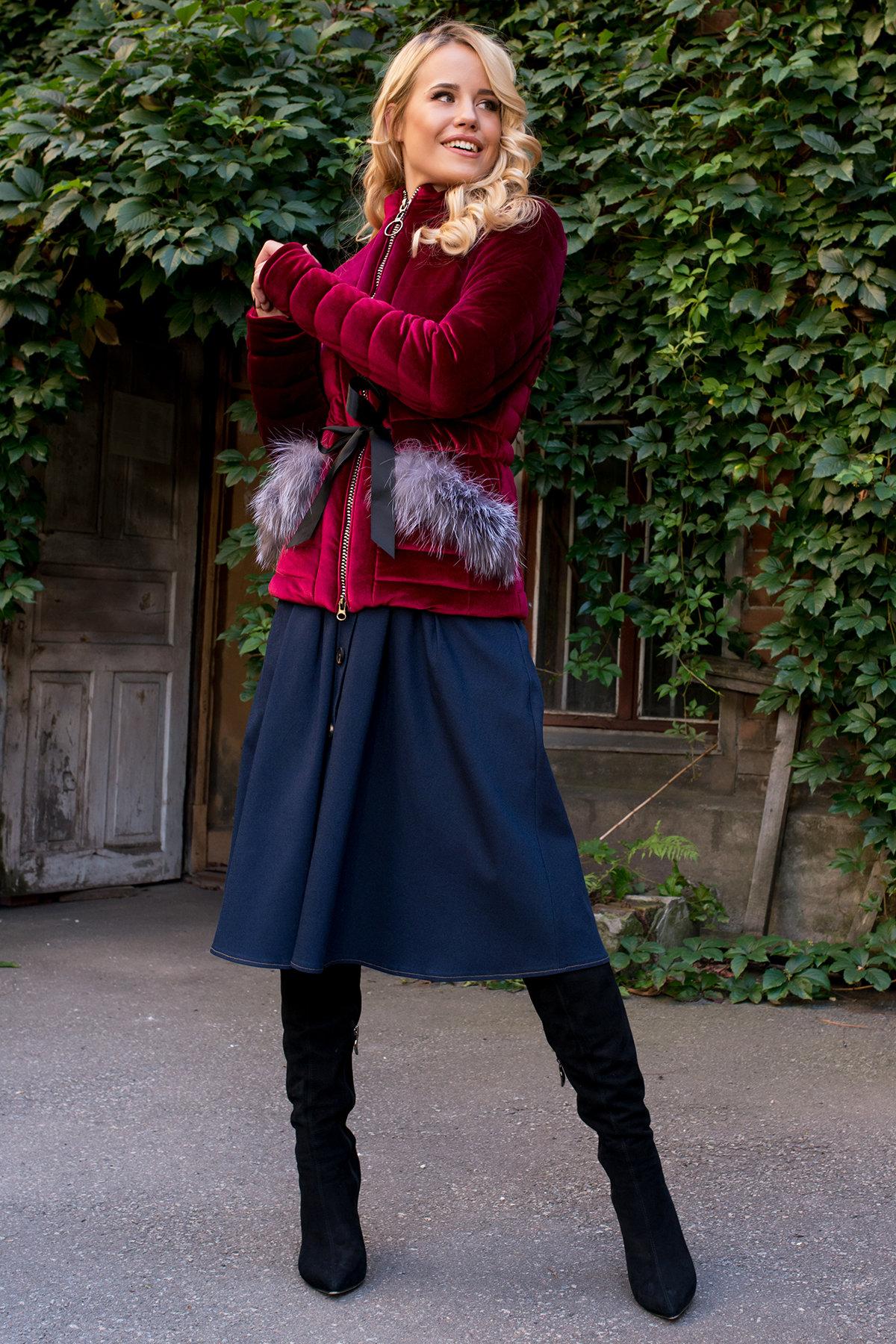 Куртка с мехом на карманах Дезире 4452 АРТ. 21637 Цвет: Марсала - фото 3, интернет магазин tm-modus.ru