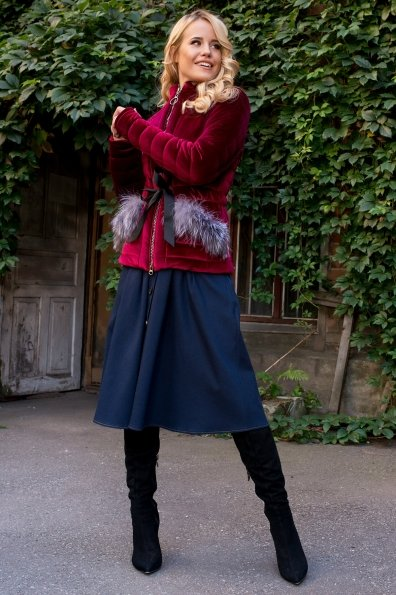 Куртка с мехом на карманах Дезире 4452 Цвет: Марсала