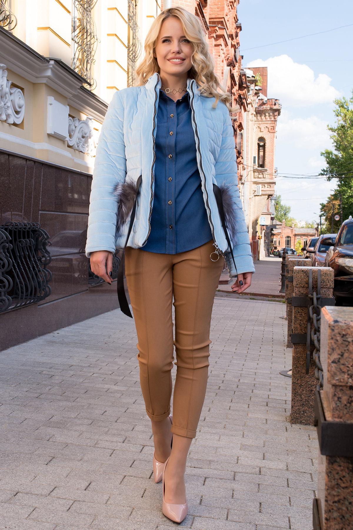 Куртка с мехом на карманах Дезире 4452 АРТ. 21968 Цвет: Голубой - фото 1, интернет магазин tm-modus.ru