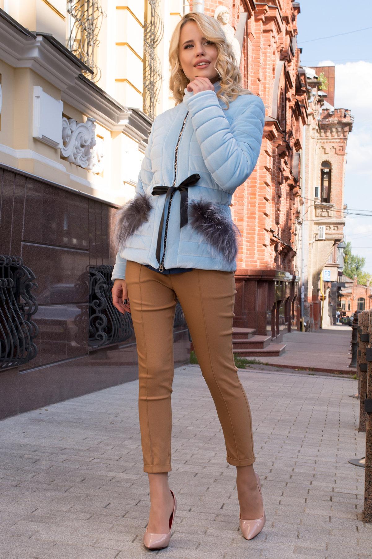 Куртка с мехом на карманах Дезире 4452 АРТ. 21968 Цвет: Голубой - фото 3, интернет магазин tm-modus.ru