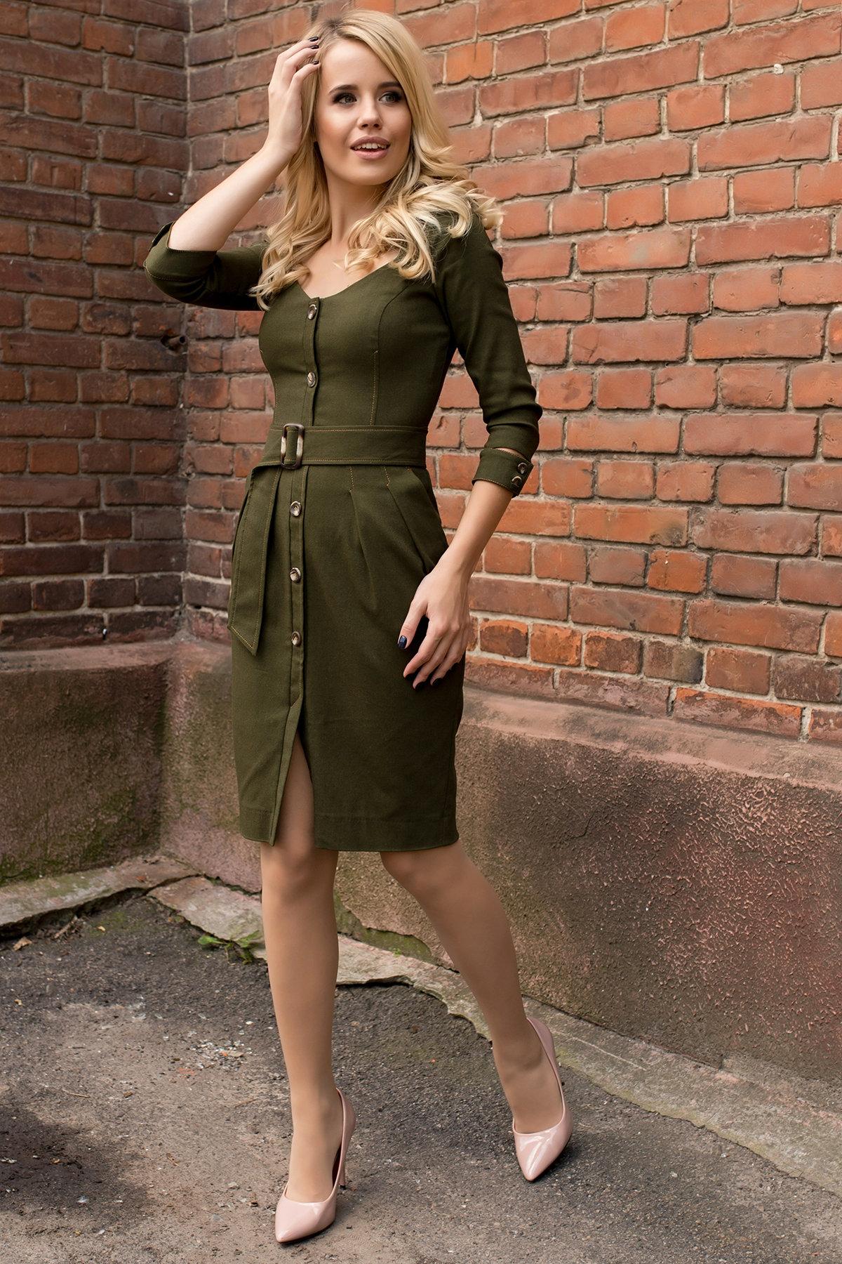 Платье-футляр Марсель 7656 АРТ. 43747 Цвет: Хаки - фото 1, интернет магазин tm-modus.ru