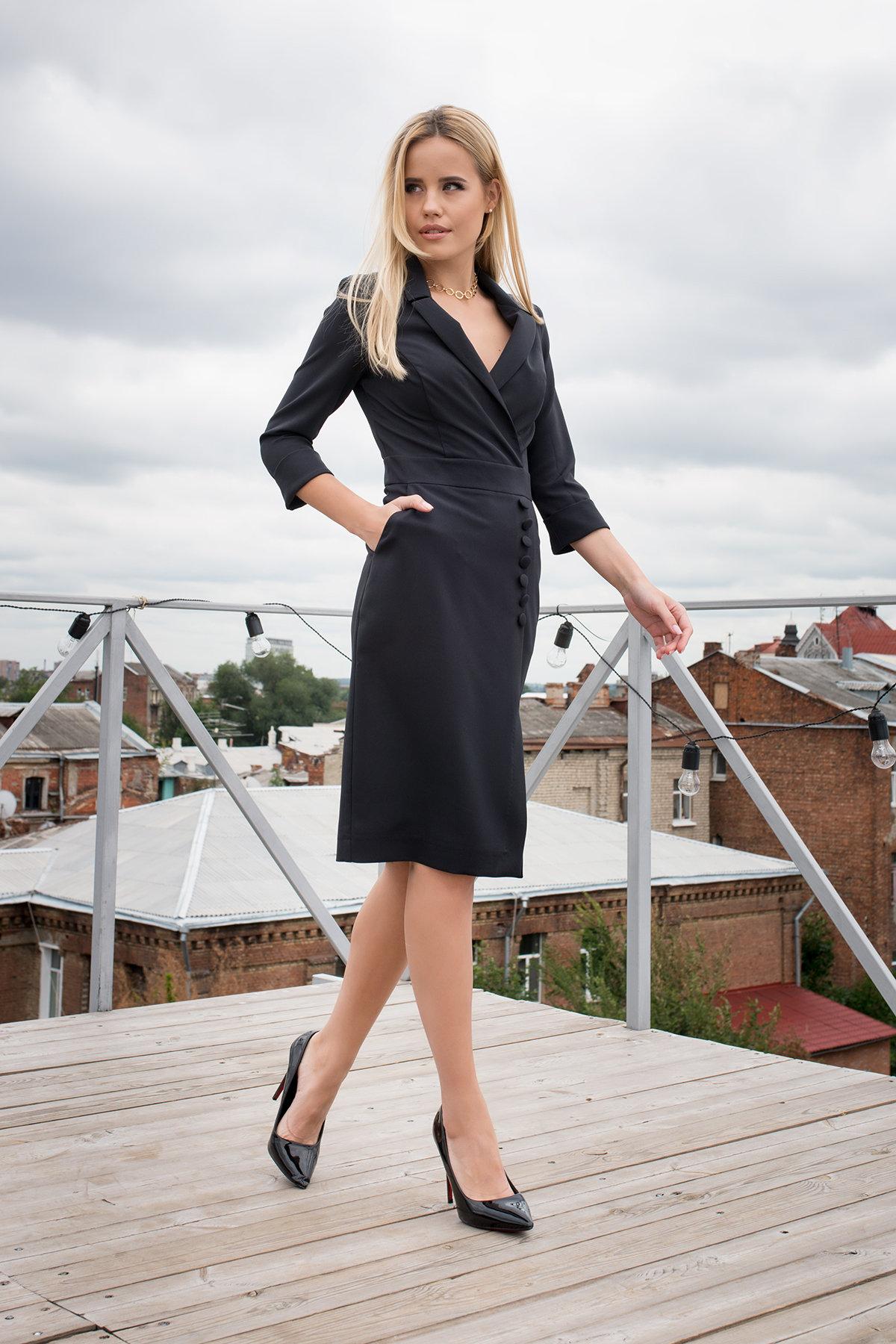 Элегантное платье Стрит 7833 АРТ. 43691 Цвет: Черный - фото 2, интернет магазин tm-modus.ru