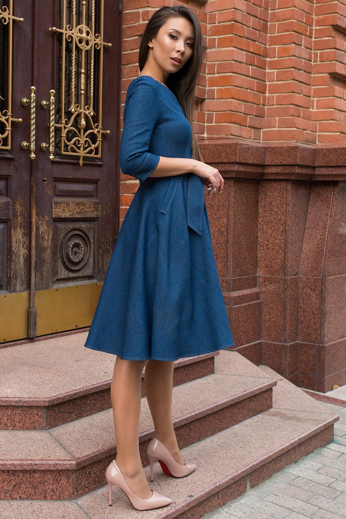Повседневное платье цвета джинс Лелли 7791 АРТ. 43869 Цвет: Джинс - фото 2, интернет магазин tm-modus.ru