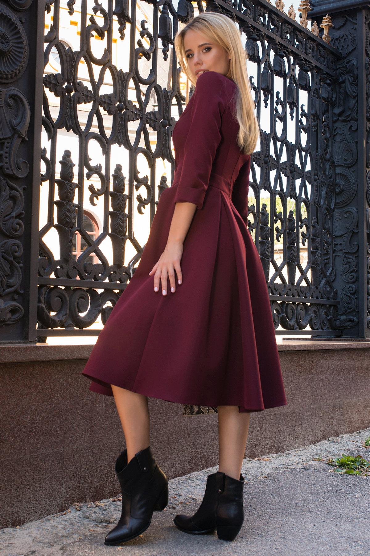 Платье с юбкой-солнце Аризона 7849 АРТ. 43843 Цвет: Винный - фото 3, интернет магазин tm-modus.ru