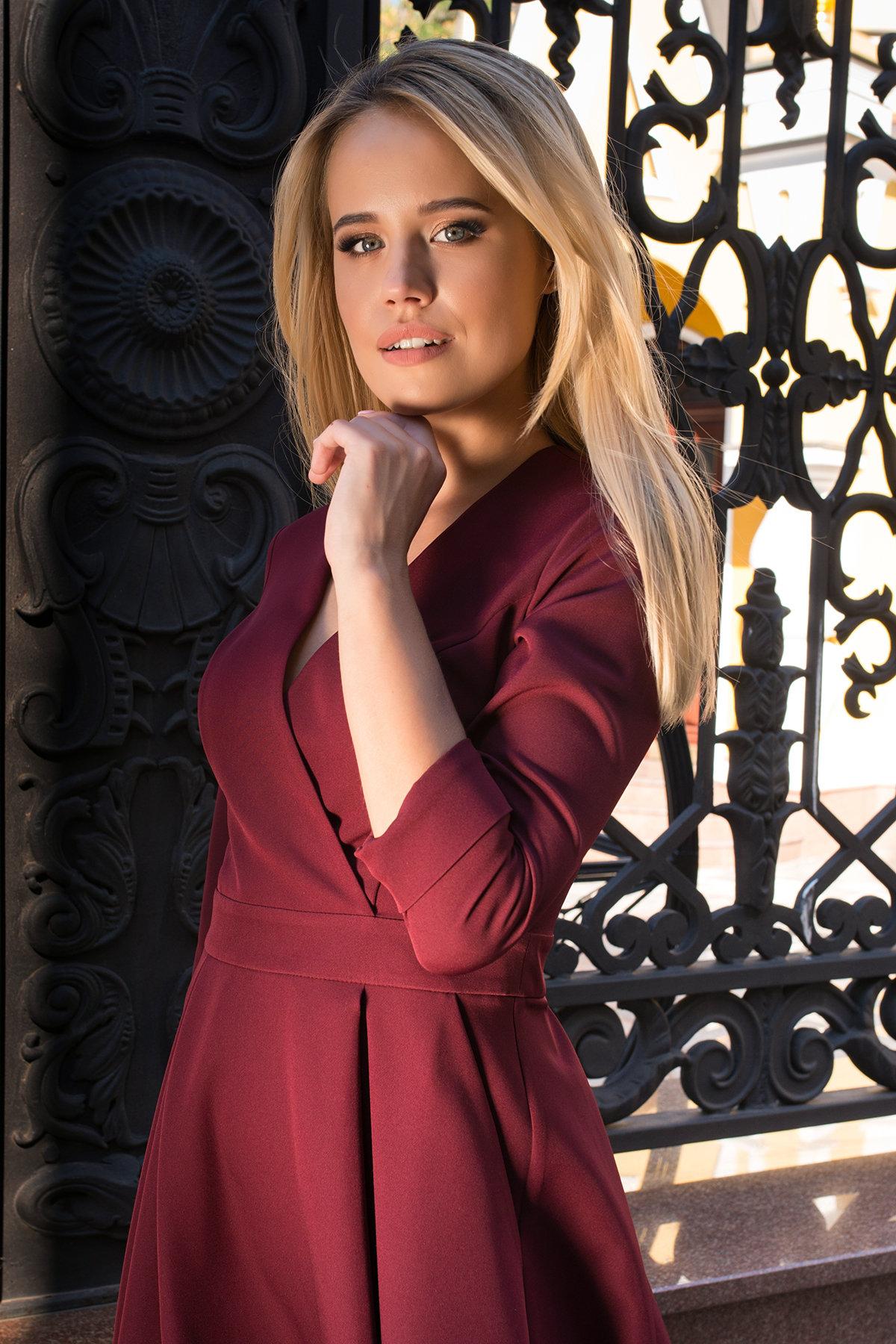 Платье с юбкой-солнце Аризона 7849 АРТ. 43843 Цвет: Винный - фото 5, интернет магазин tm-modus.ru