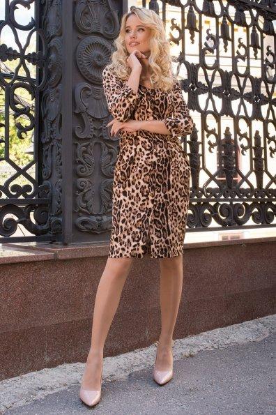 Платье с леопардовым принтом Прованс 7933 Цвет: Леопард бежевый/черный