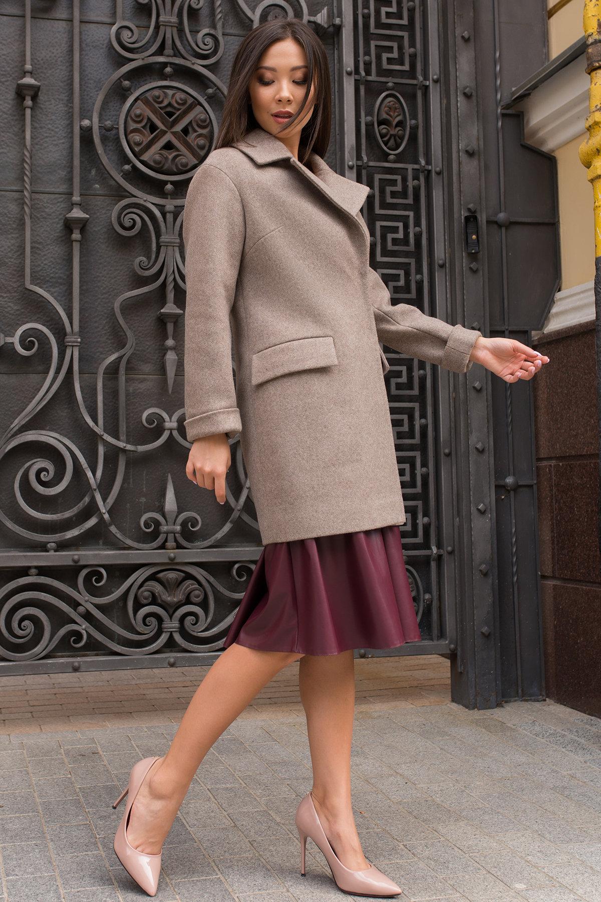 Элегантное пальто на осень с поясом Моле 7955 Цвет: Бежевый