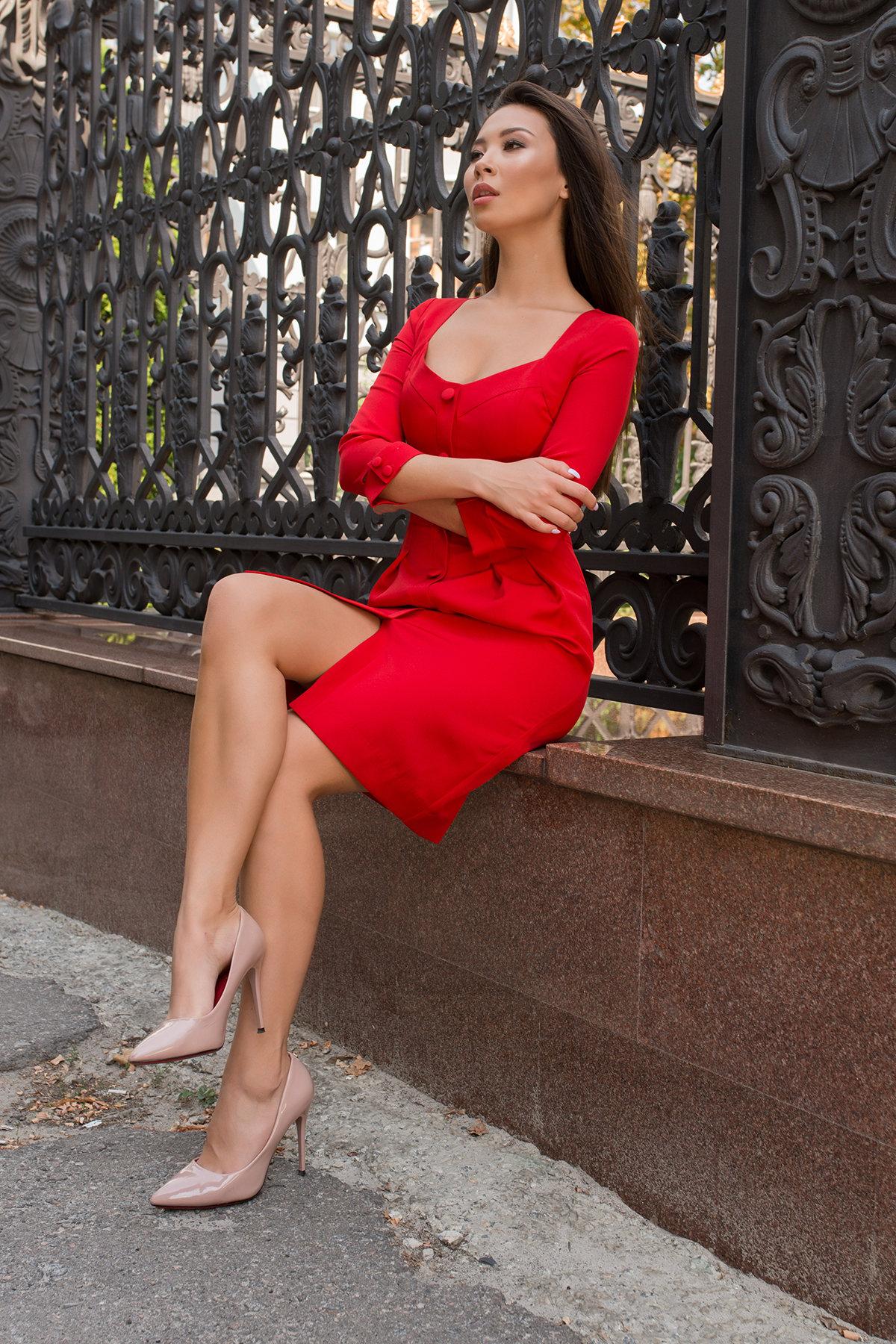 Платье-футляр Прованс 7871 АРТ. 43887 Цвет: Красный - фото 3, интернет магазин tm-modus.ru