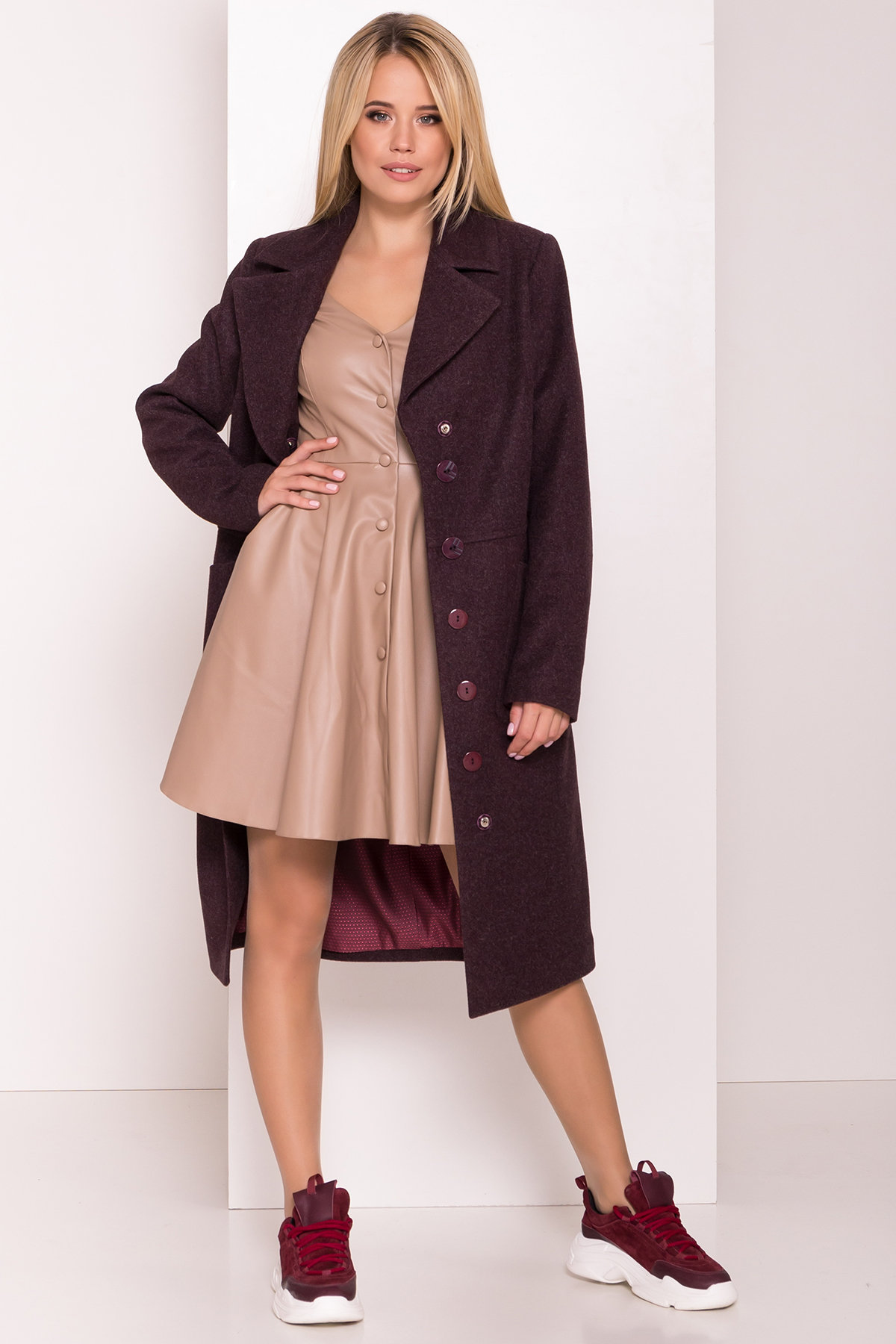 Классическое пальто Габриэлла 7872 АРТ. 43798 Цвет: Марсала 5 - фото 2, интернет магазин tm-modus.ru