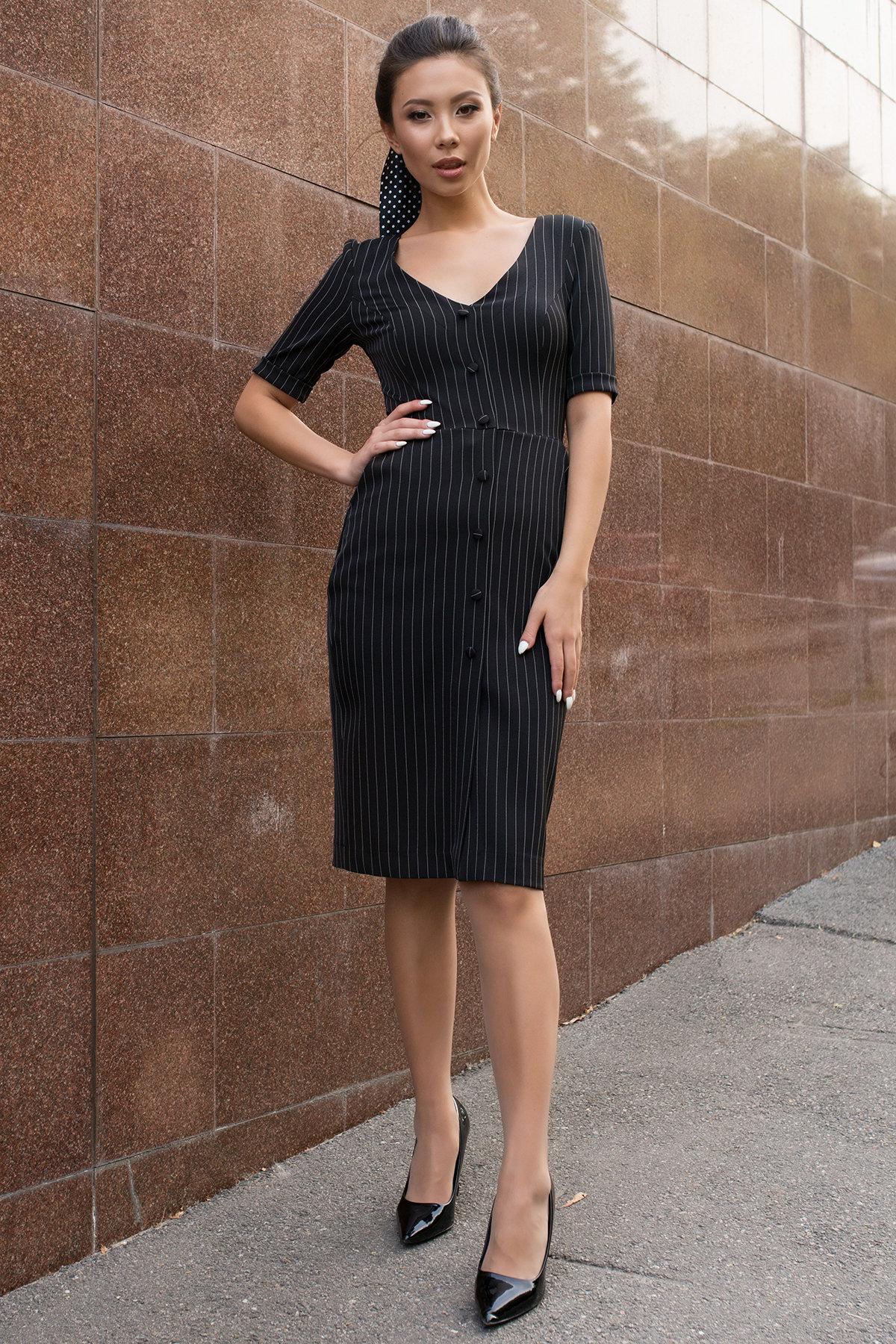 Трикотажные платья оптом Стильное черное платье в полоску Тетрис 7915