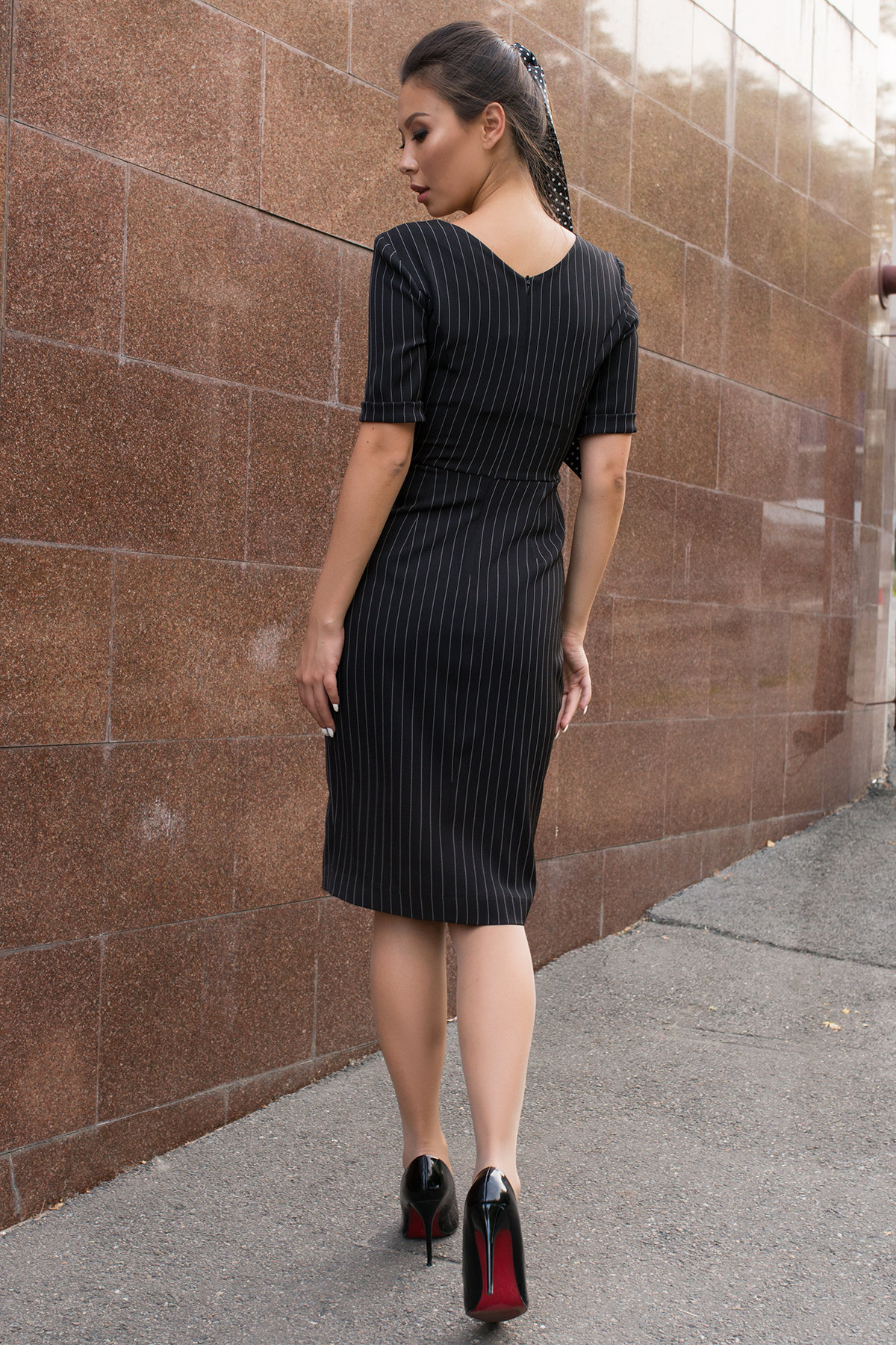 Стильное черное платье в полоску Тетрис 7915 АРТ. 43847 Цвет: Полоска тон чер/бел - фото 2, интернет магазин tm-modus.ru