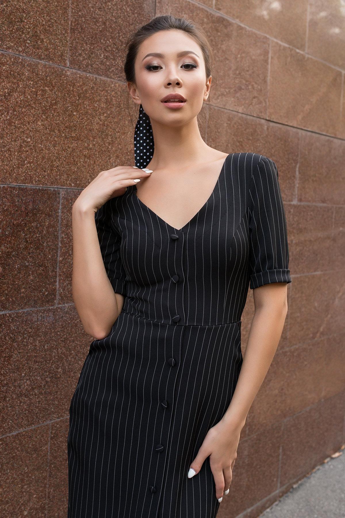 Стильное черное платье в полоску Тетрис 7915 АРТ. 43847 Цвет: Полоска тон чер/бел - фото 4, интернет магазин tm-modus.ru