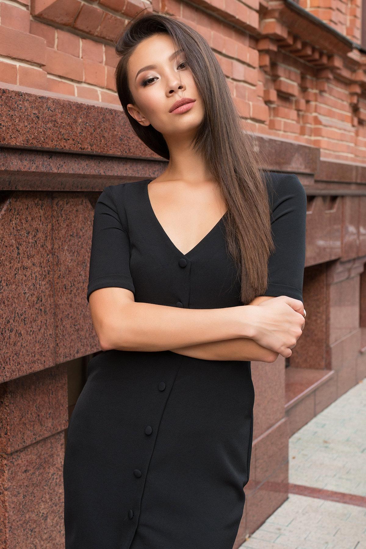 Деловое платье миди Тетрис 7917 АРТ. 43849 Цвет: Черный - фото 3, интернет магазин tm-modus.ru
