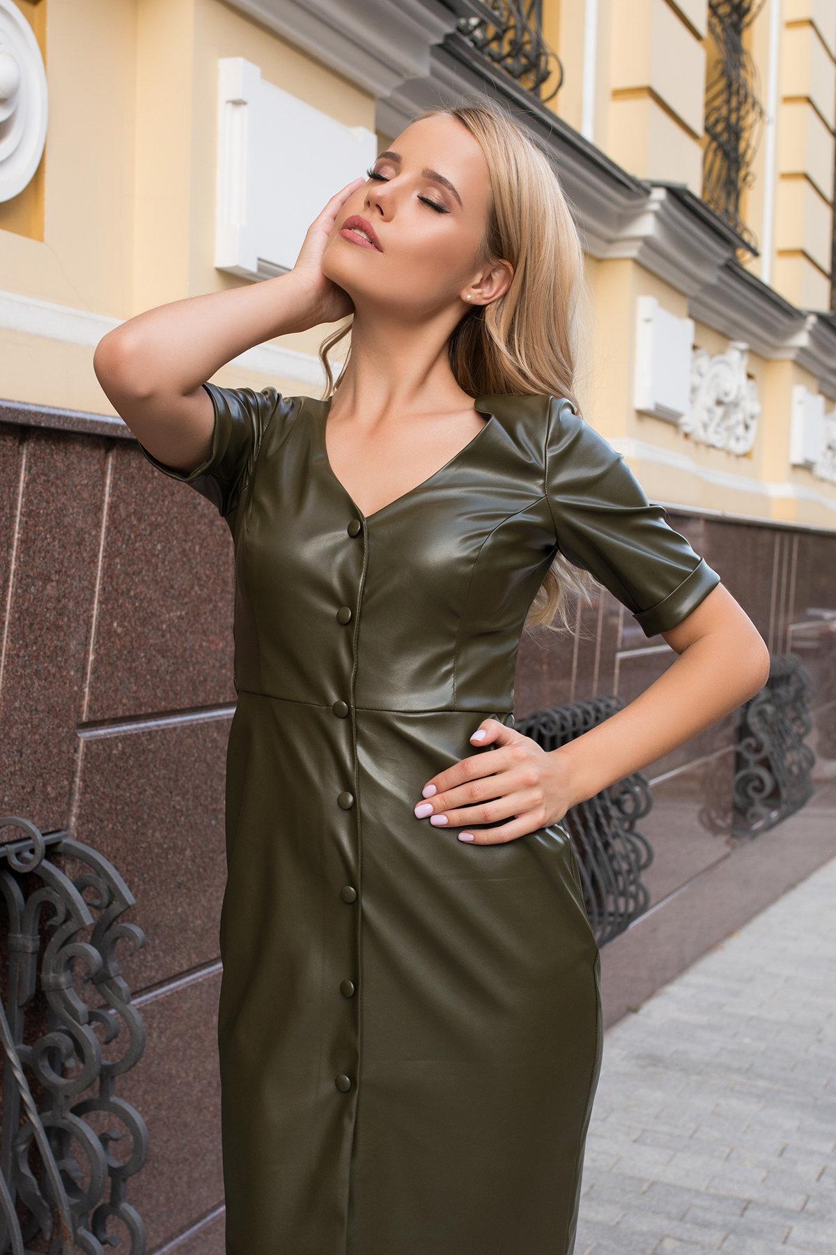 Платье из экокожи Тетрис 7847 АРТ. 43899 Цвет: Хаки - фото 9, интернет магазин tm-modus.ru