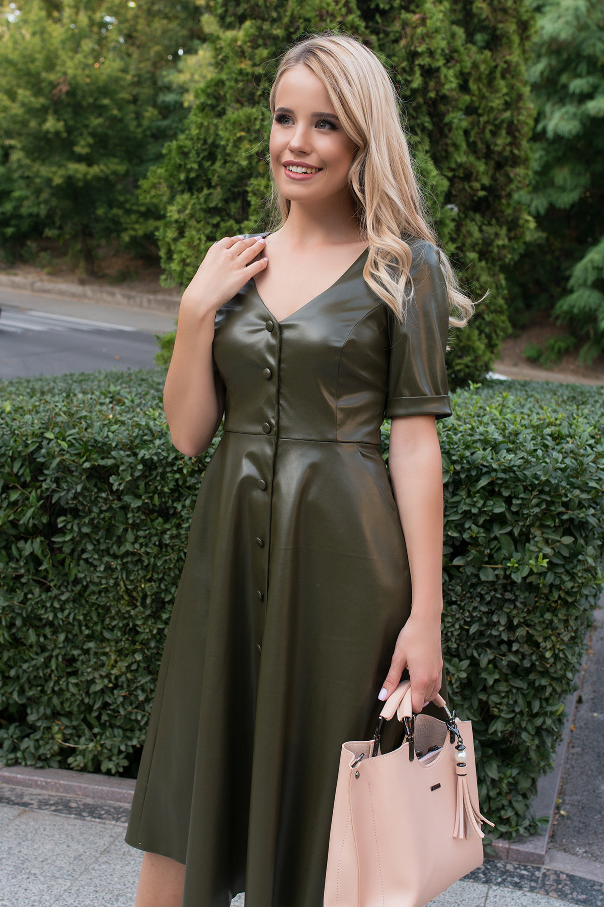 Платье длинной ниже колена Фернанда 7875 АРТ. 43845 Цвет: Хаки - фото 3, интернет магазин tm-modus.ru