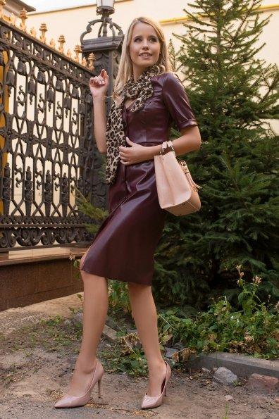 Платье из экокожи Тетрис 7847 Цвет: Винный