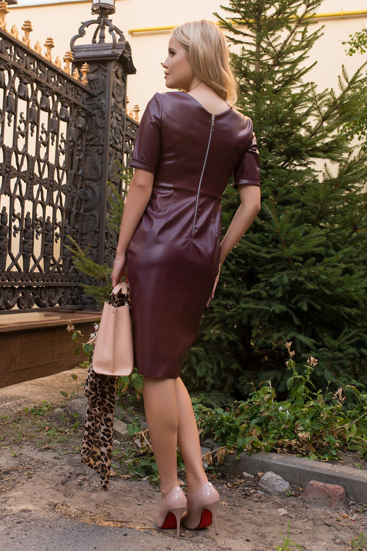 Платье из экокожи Тетрис 7847 АРТ. 43900 Цвет: Винный - фото 2, интернет магазин tm-modus.ru