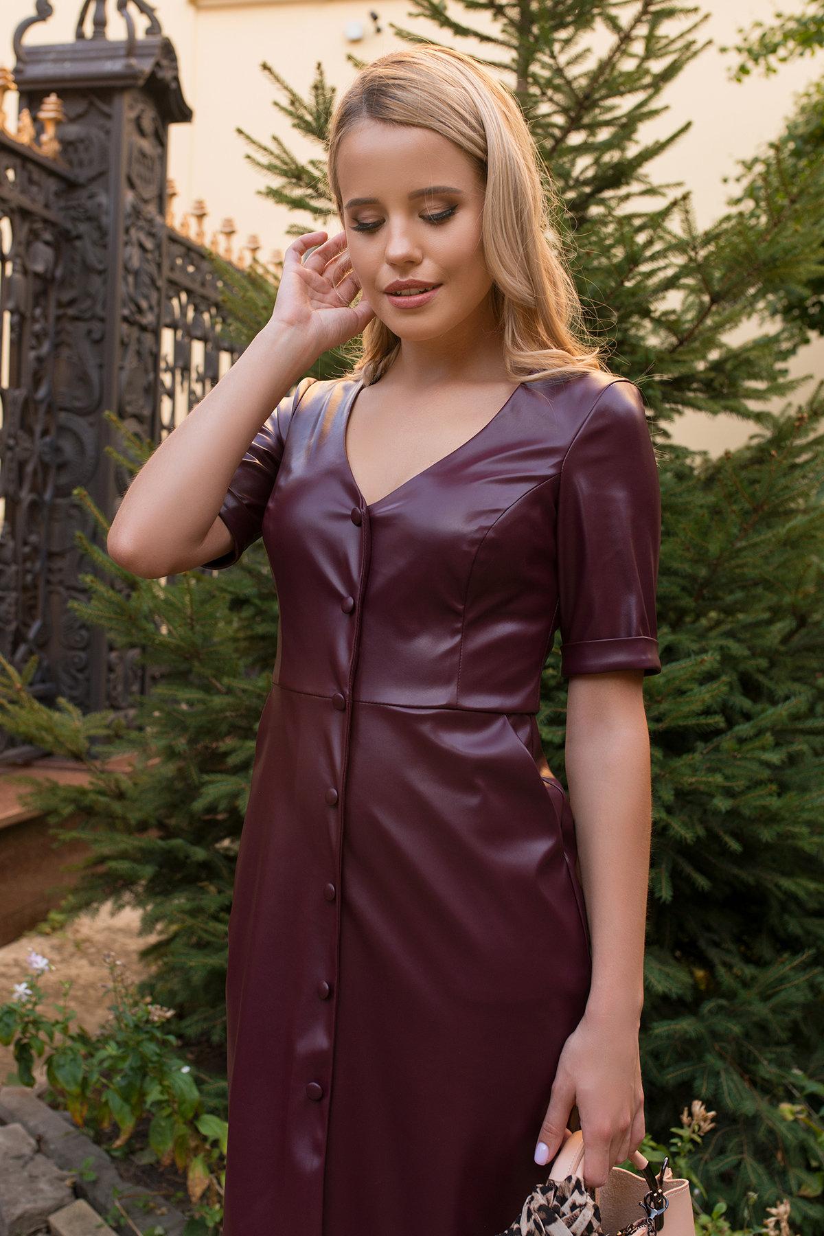 Платье из экокожи Тетрис 7847 АРТ. 43900 Цвет: Винный - фото 3, интернет магазин tm-modus.ru
