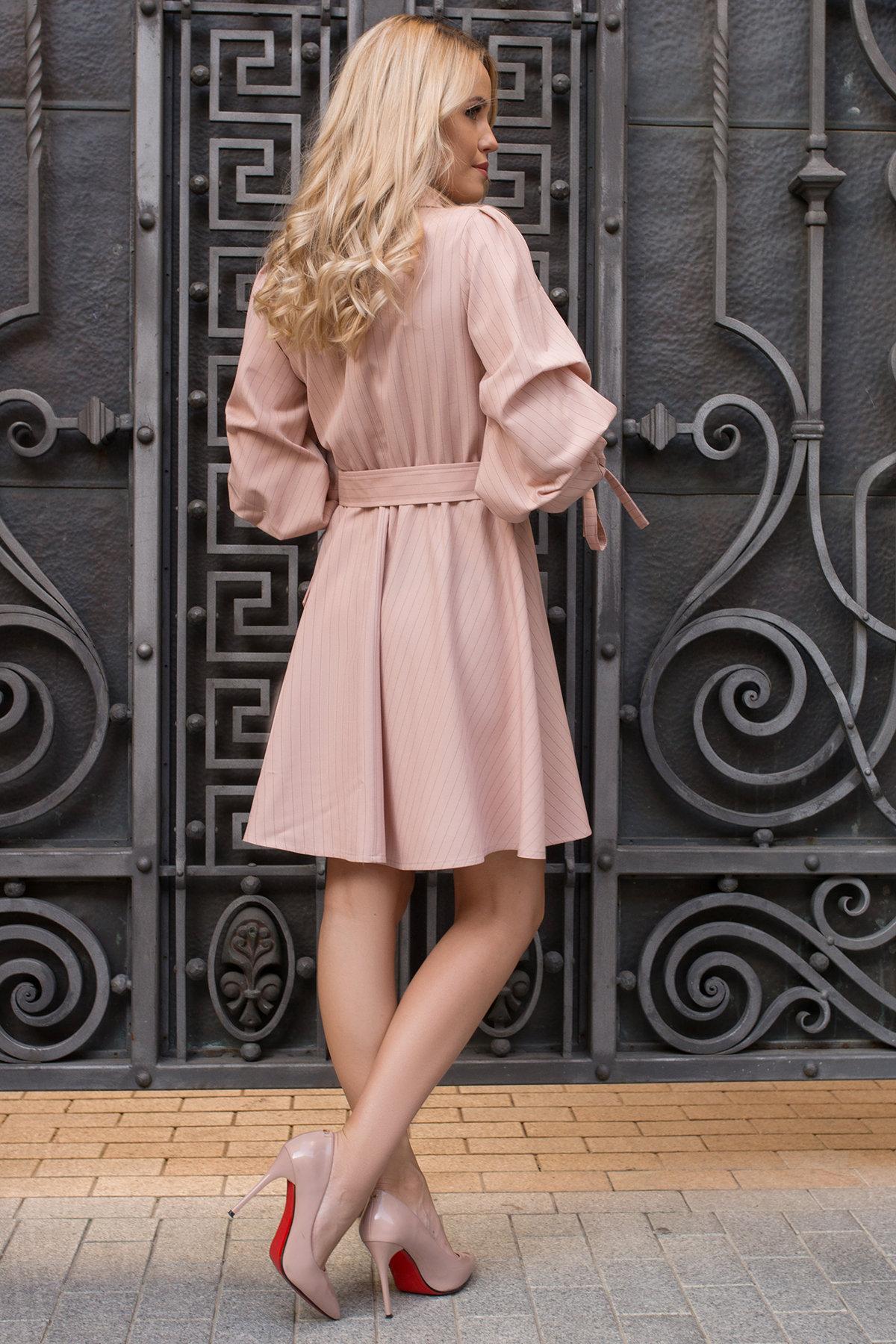 Стильное платье в полоску Девин 7926 Цвет: Полоска тон пудр/черн
