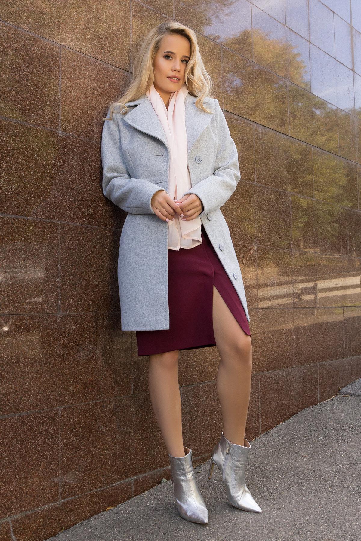 Демисезонное пальто с поясом Камила 7964 АРТ. 43920 Цвет: Серый Светлый 33 - фото 1, интернет магазин tm-modus.ru