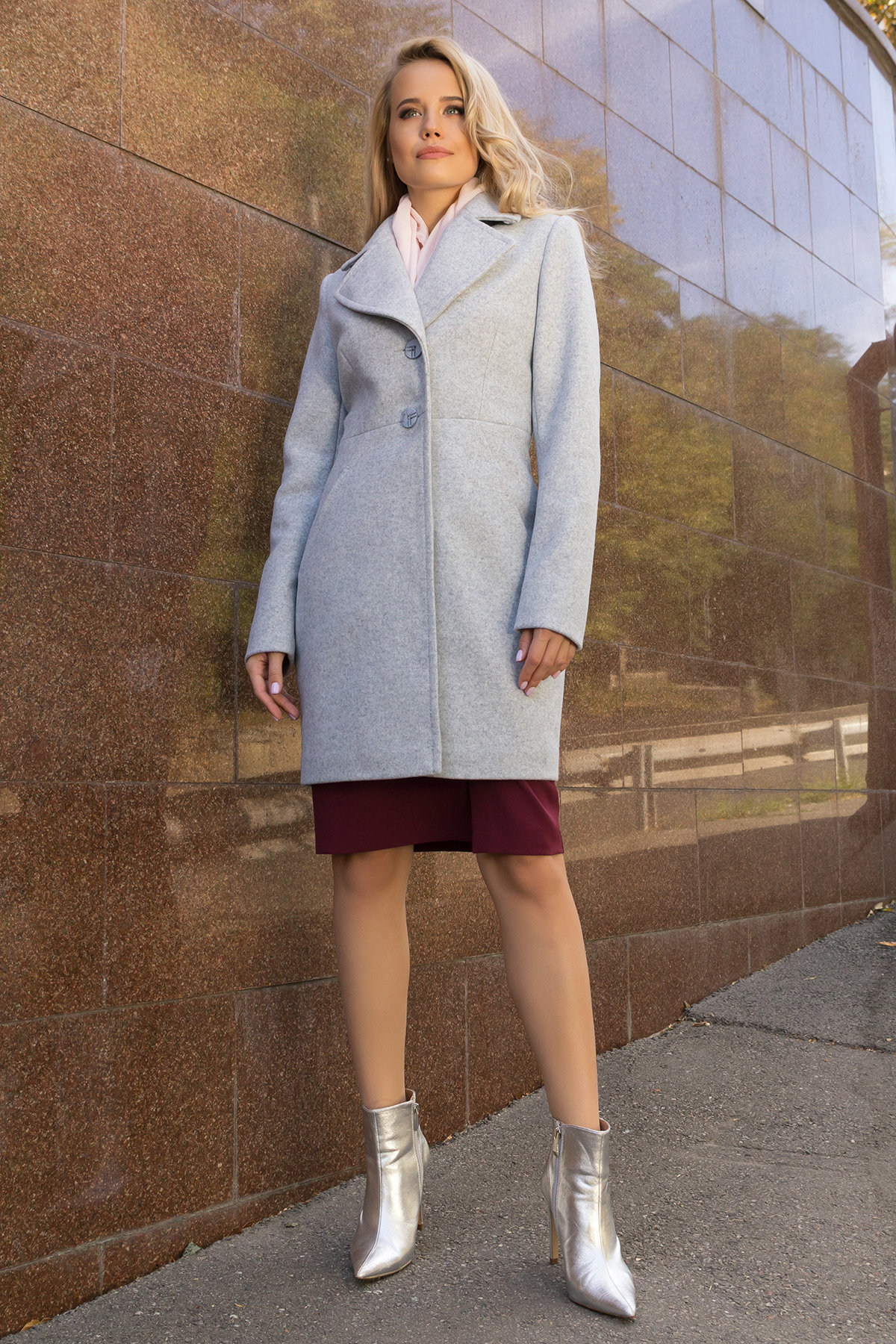 Демисезонное пальто с поясом Камила 7964 Цвет: Серый Светлый 33