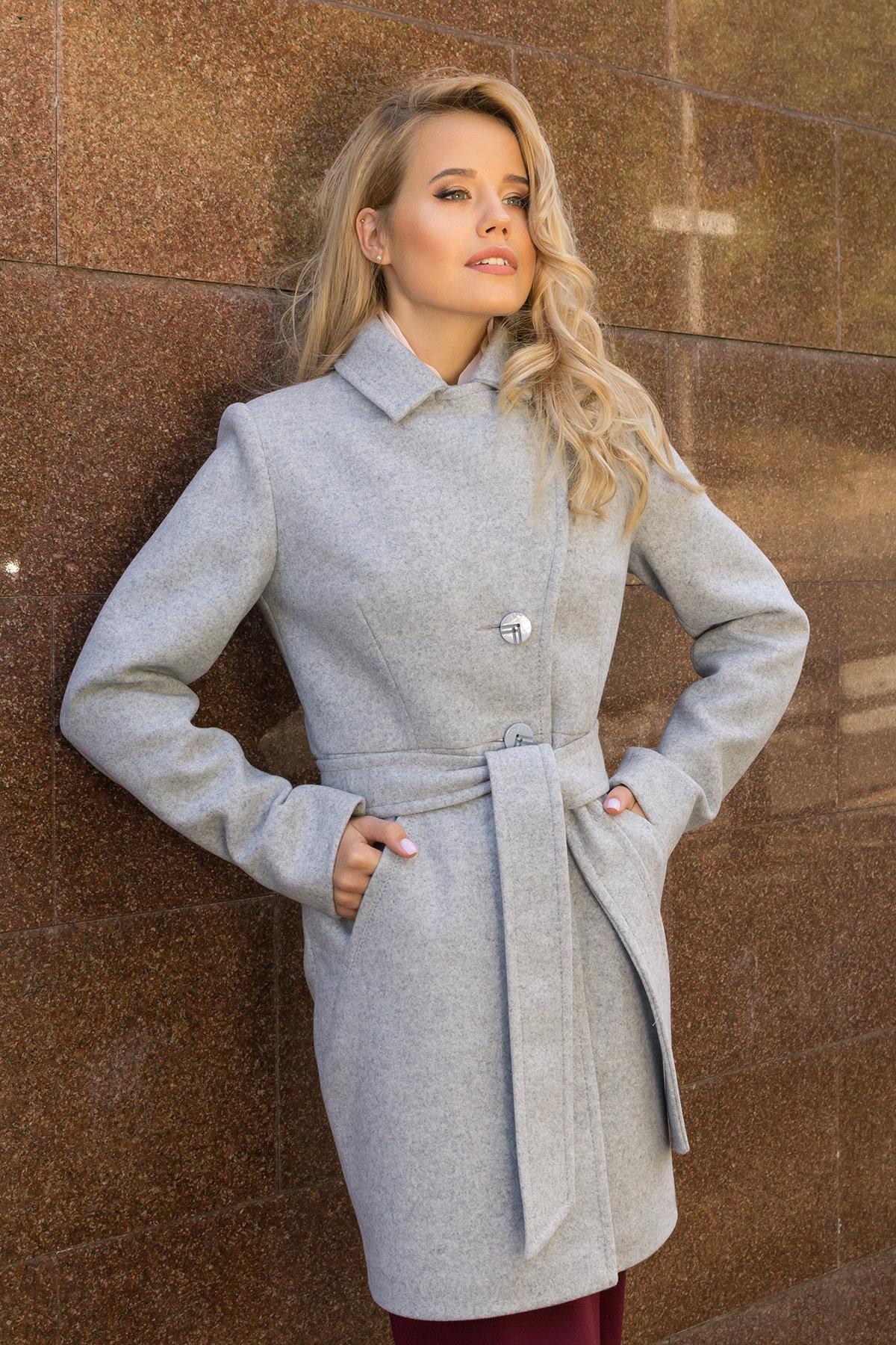 Демисезонное пальто с поясом Камила 7964 АРТ. 43920 Цвет: Серый Светлый 33 - фото 5, интернет магазин tm-modus.ru