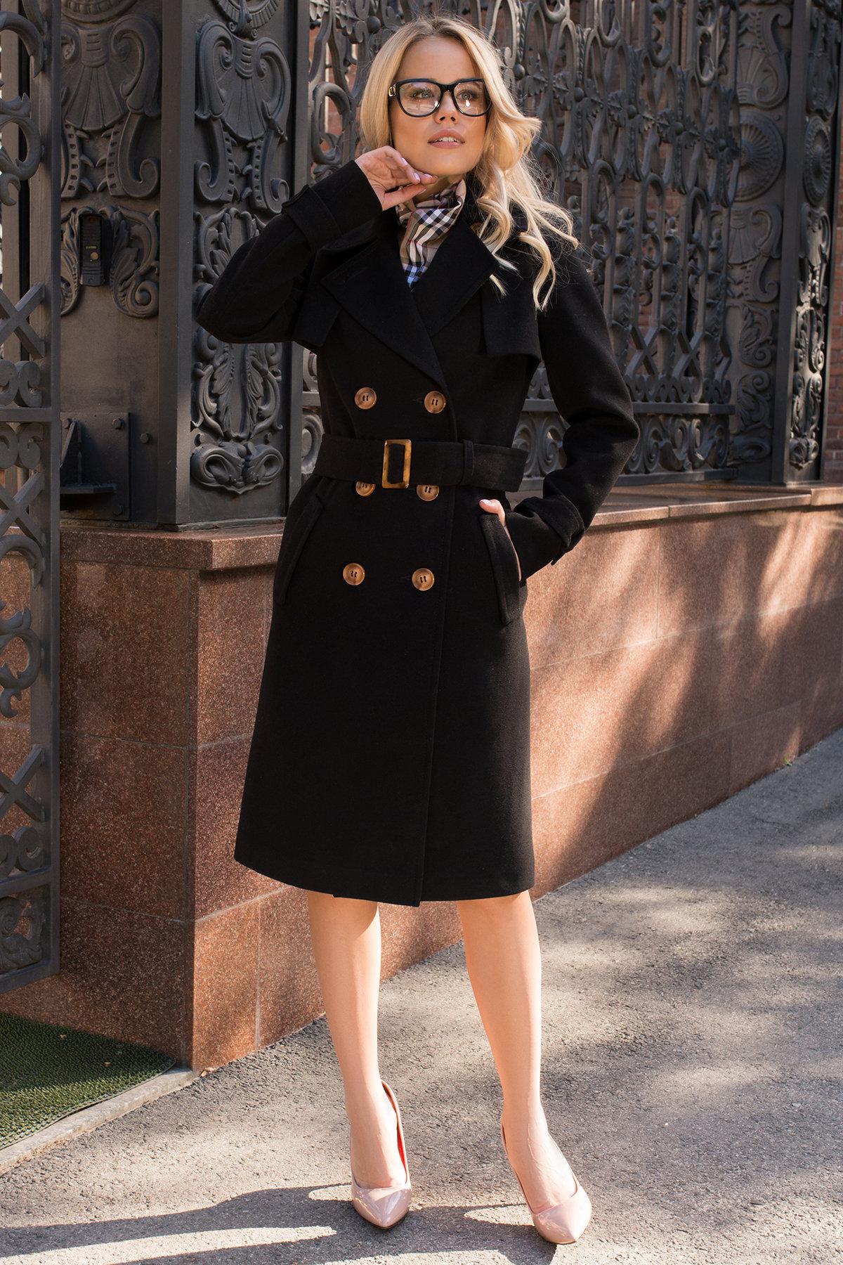 Черное двубортное пальто Монте 7947 АРТ. 43907 Цвет: Черный - фото 1, интернет магазин tm-modus.ru