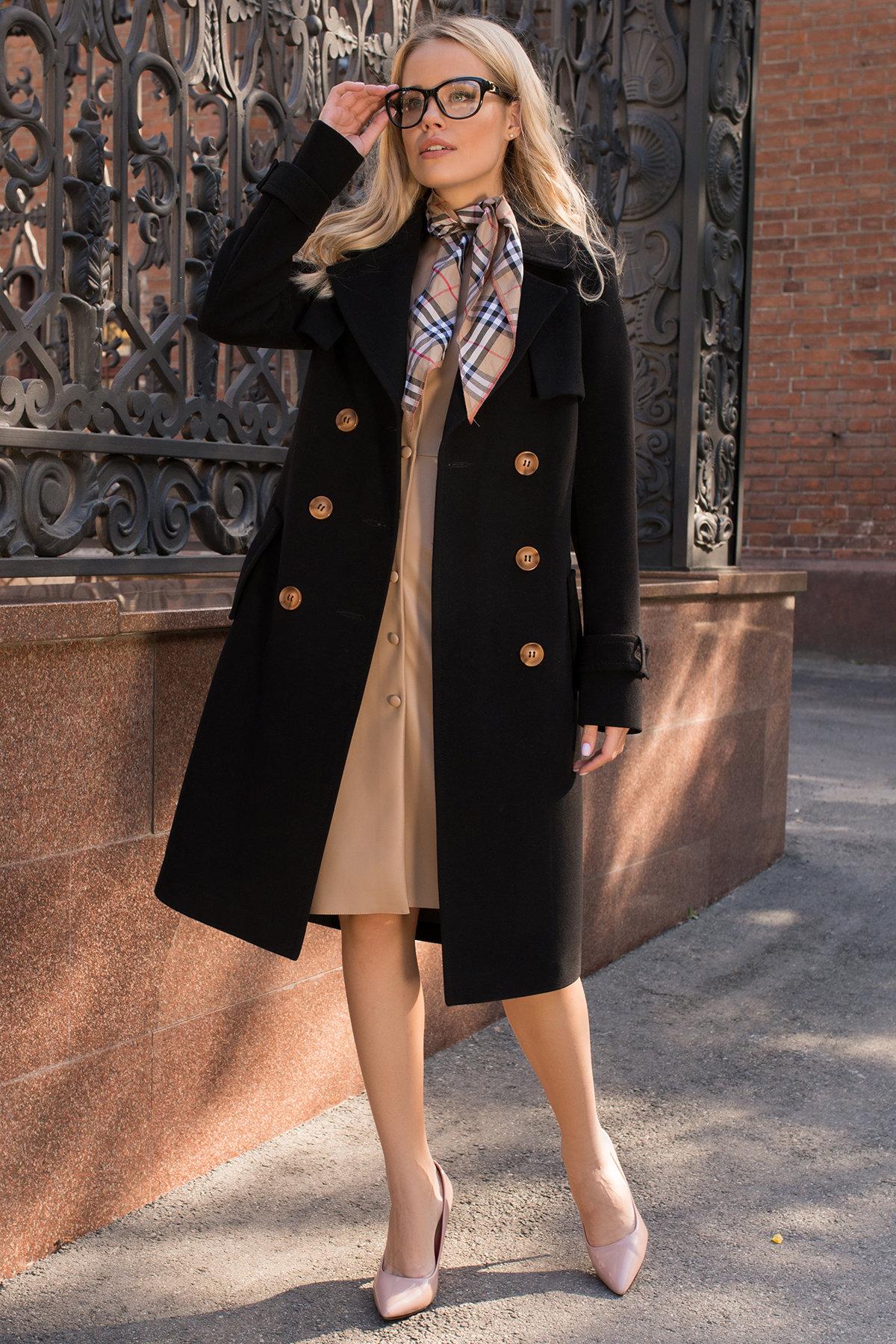 Черное двубортное пальто Монте 7947 АРТ. 43907 Цвет: Черный - фото 3, интернет магазин tm-modus.ru