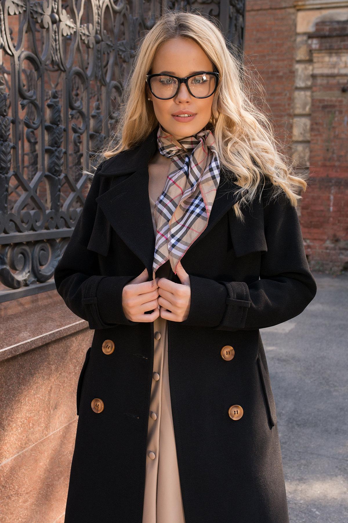 Черное двубортное пальто Монте 7947 АРТ. 43907 Цвет: Черный - фото 5, интернет магазин tm-modus.ru