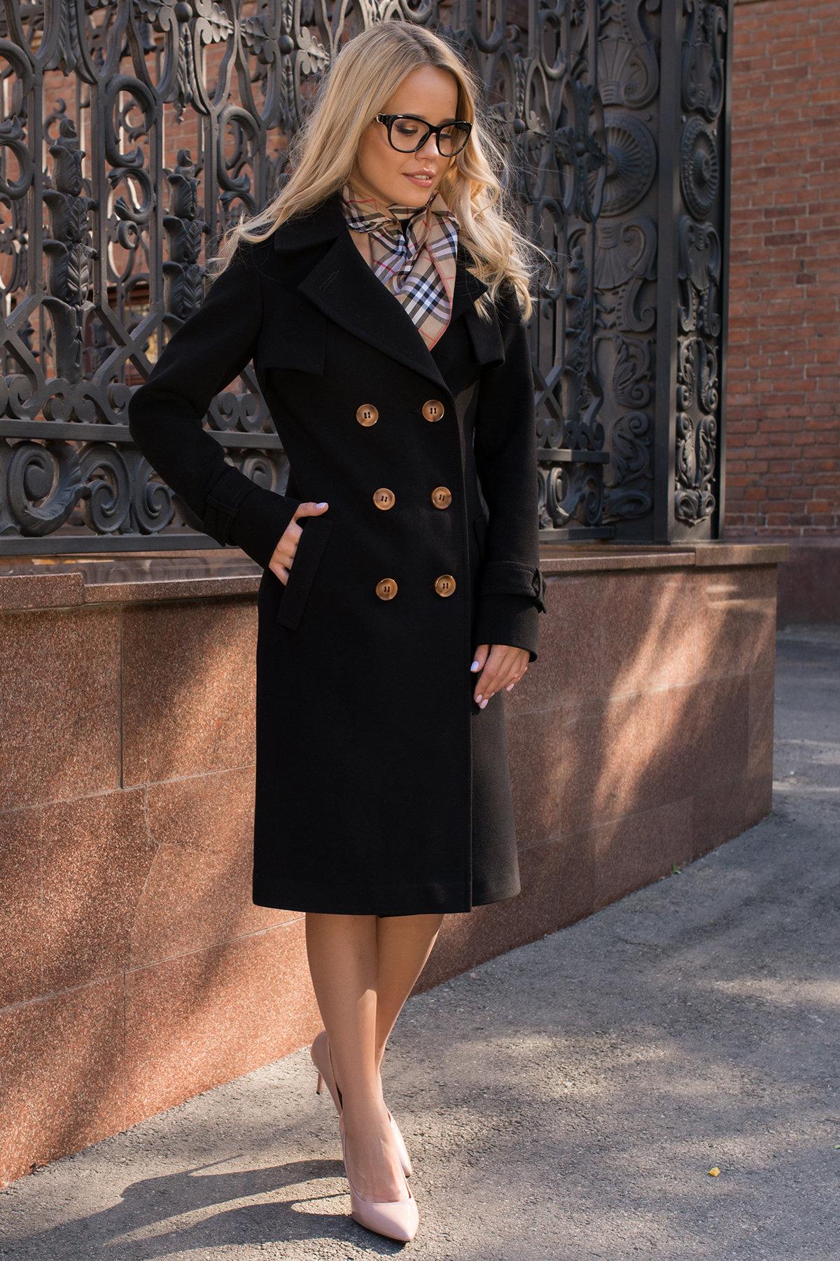 Черное двубортное пальто Монте 7947 АРТ. 43907 Цвет: Черный - фото 7, интернет магазин tm-modus.ru
