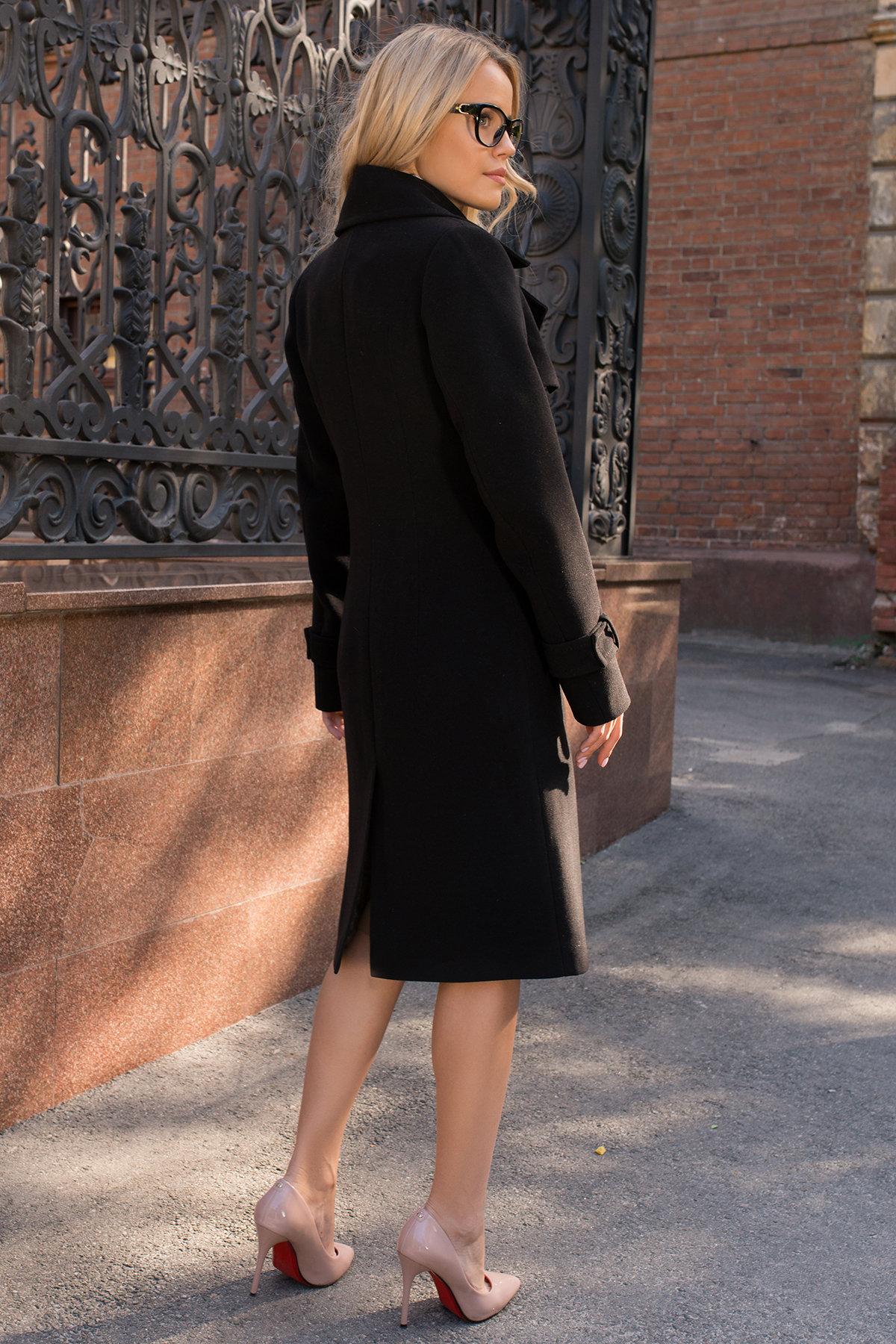 Черное двубортное пальто Монте 7947 АРТ. 43907 Цвет: Черный - фото 9, интернет магазин tm-modus.ru