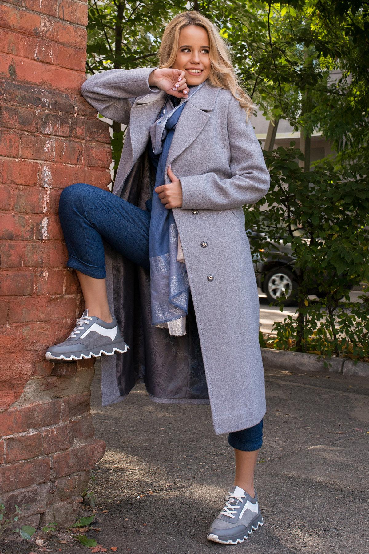 Демисезонное пальто удлиненное Миссури макси 6398 АРТ. 41317 Цвет: Серый 20 - фото 2, интернет магазин tm-modus.ru