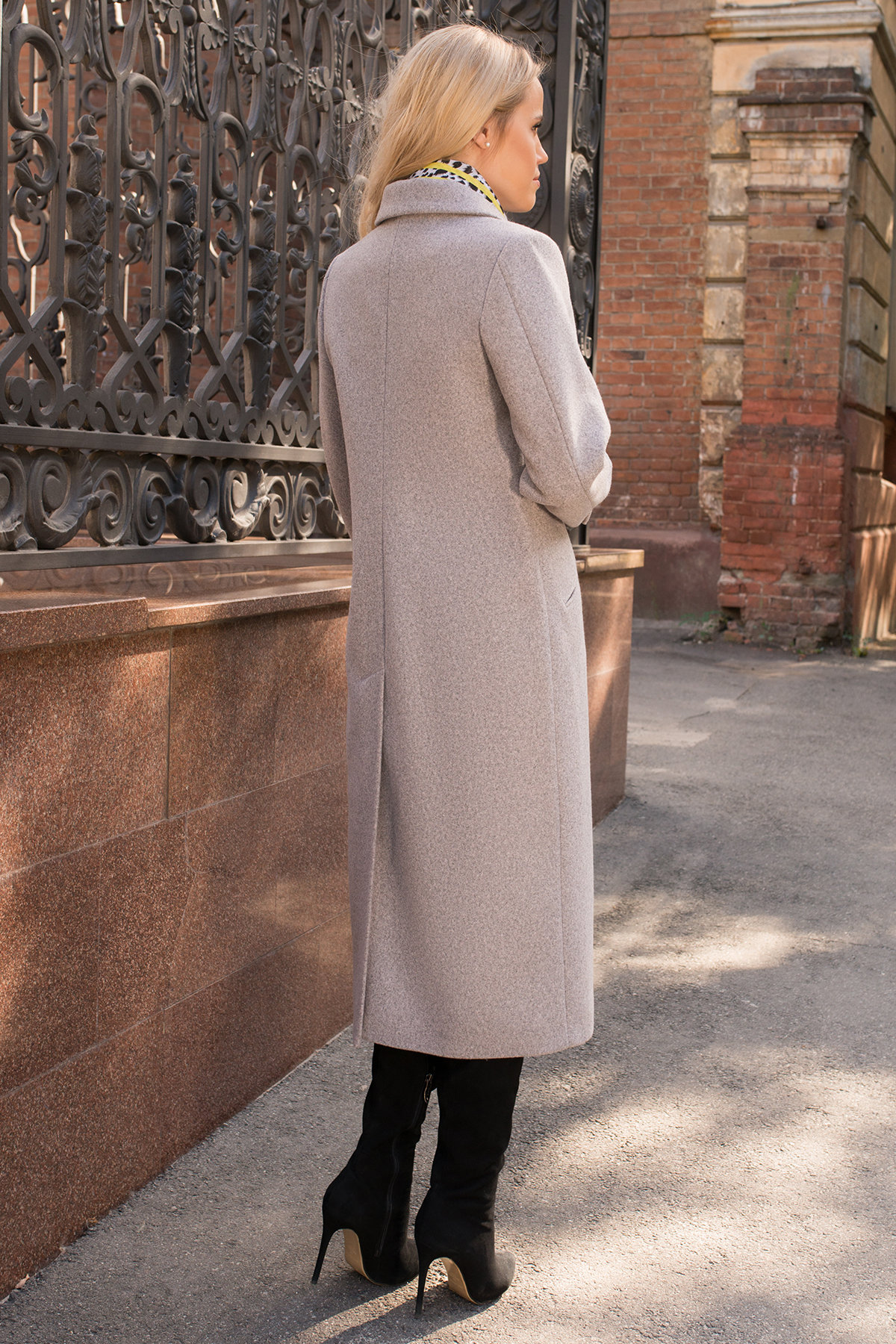 Пальто Эрли макси 6399 Цвет: Серо-розовый тёмный 32